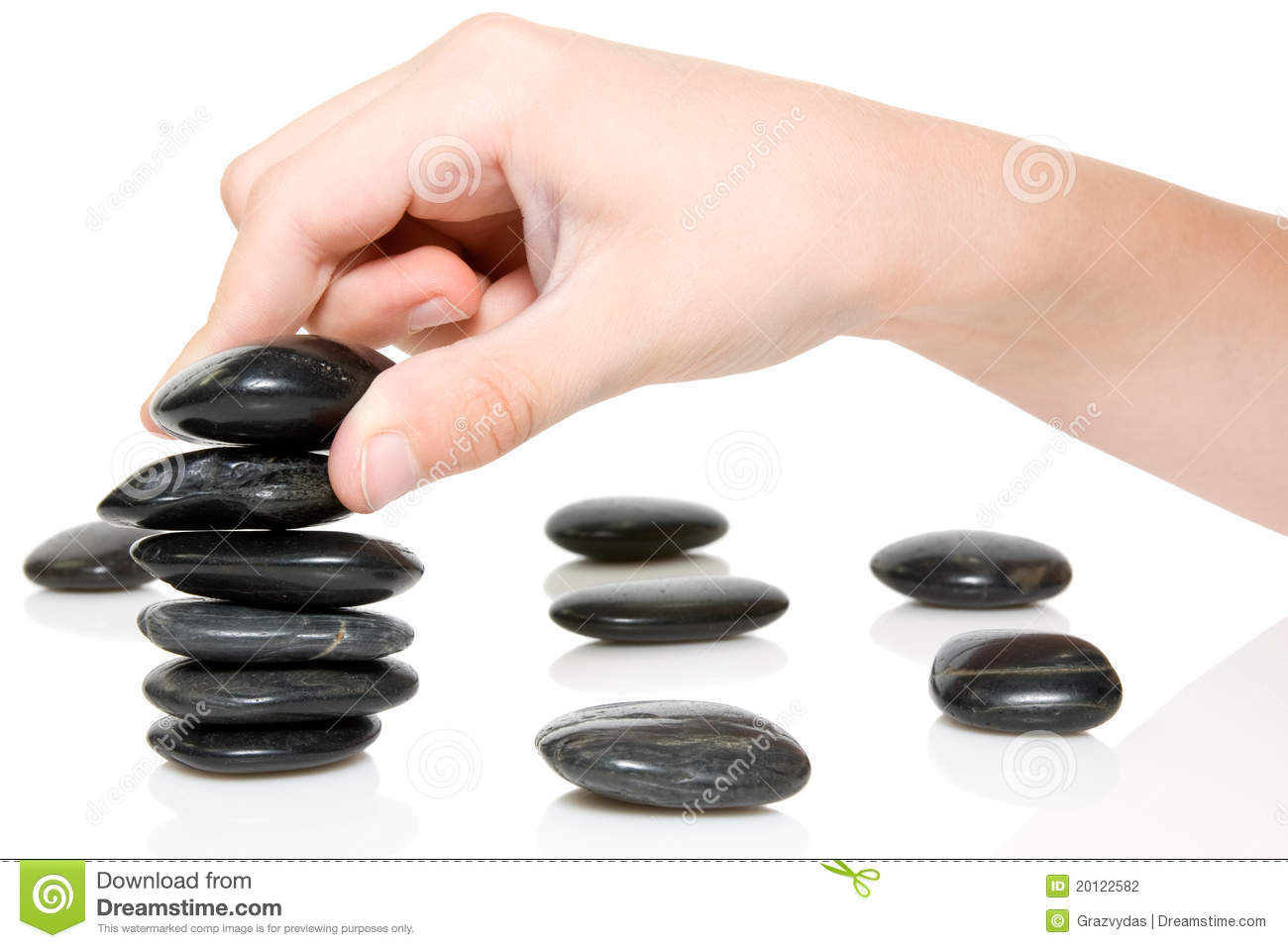 Download Building A Zen Garden. Stock Photo. Image Of Black, Hand   20122582