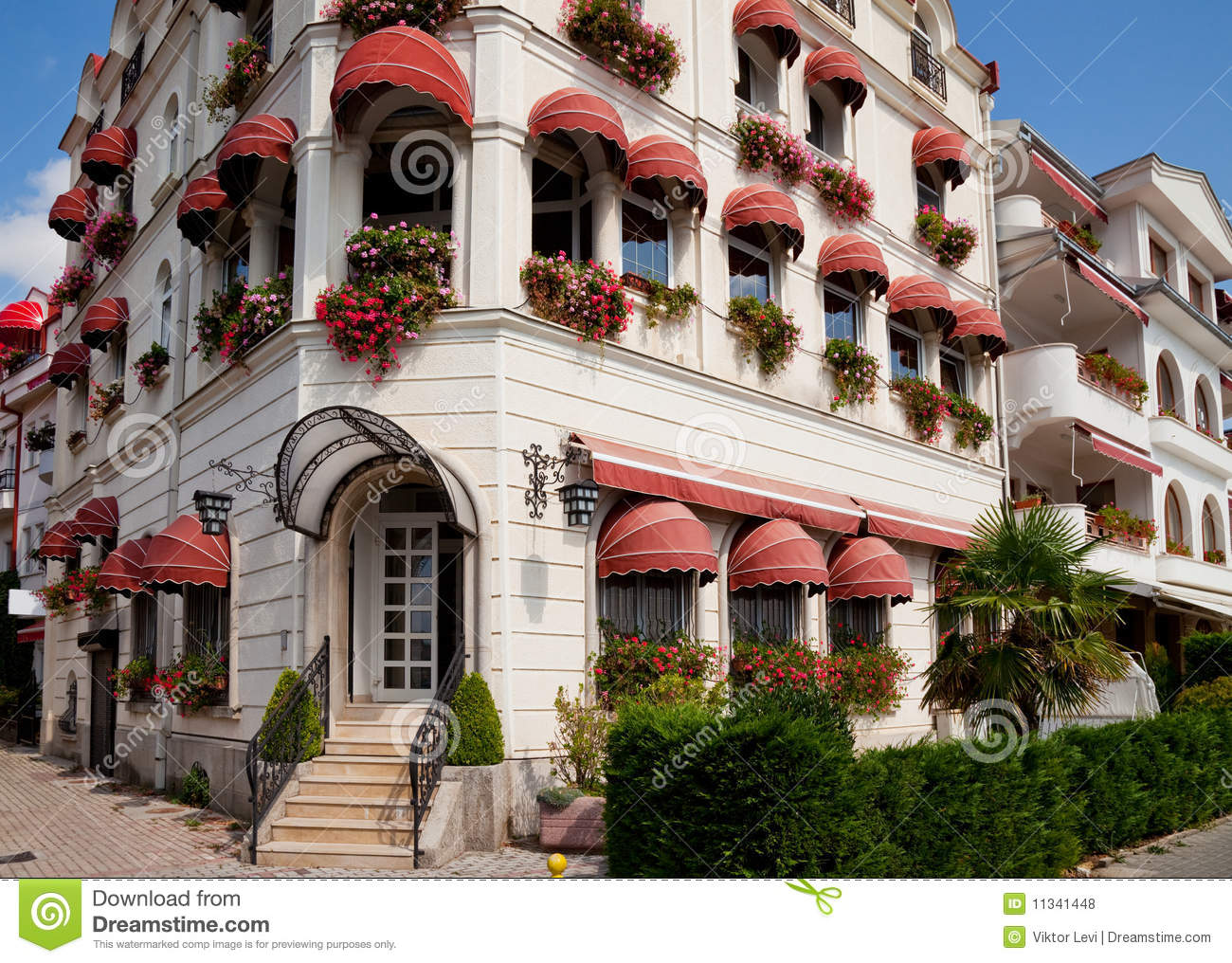 Buildings With Awnings In Ohrid Royalty Free Stock Photos