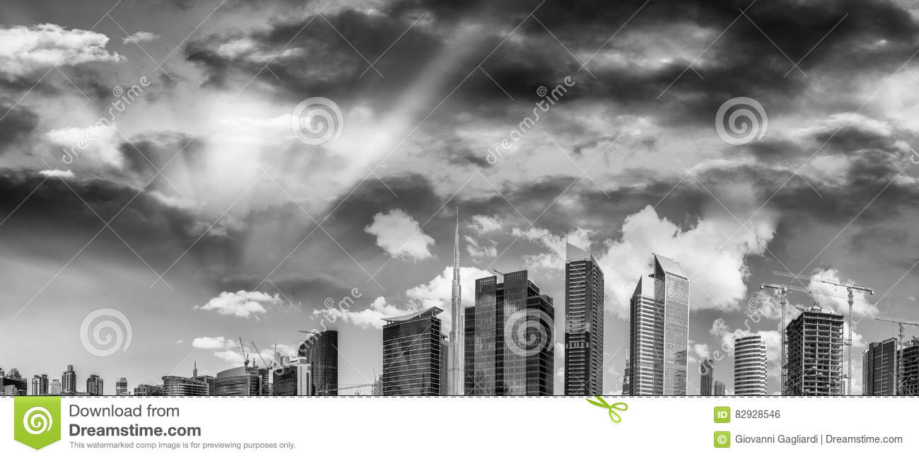 Buildings of downtown dubai in black and white uae