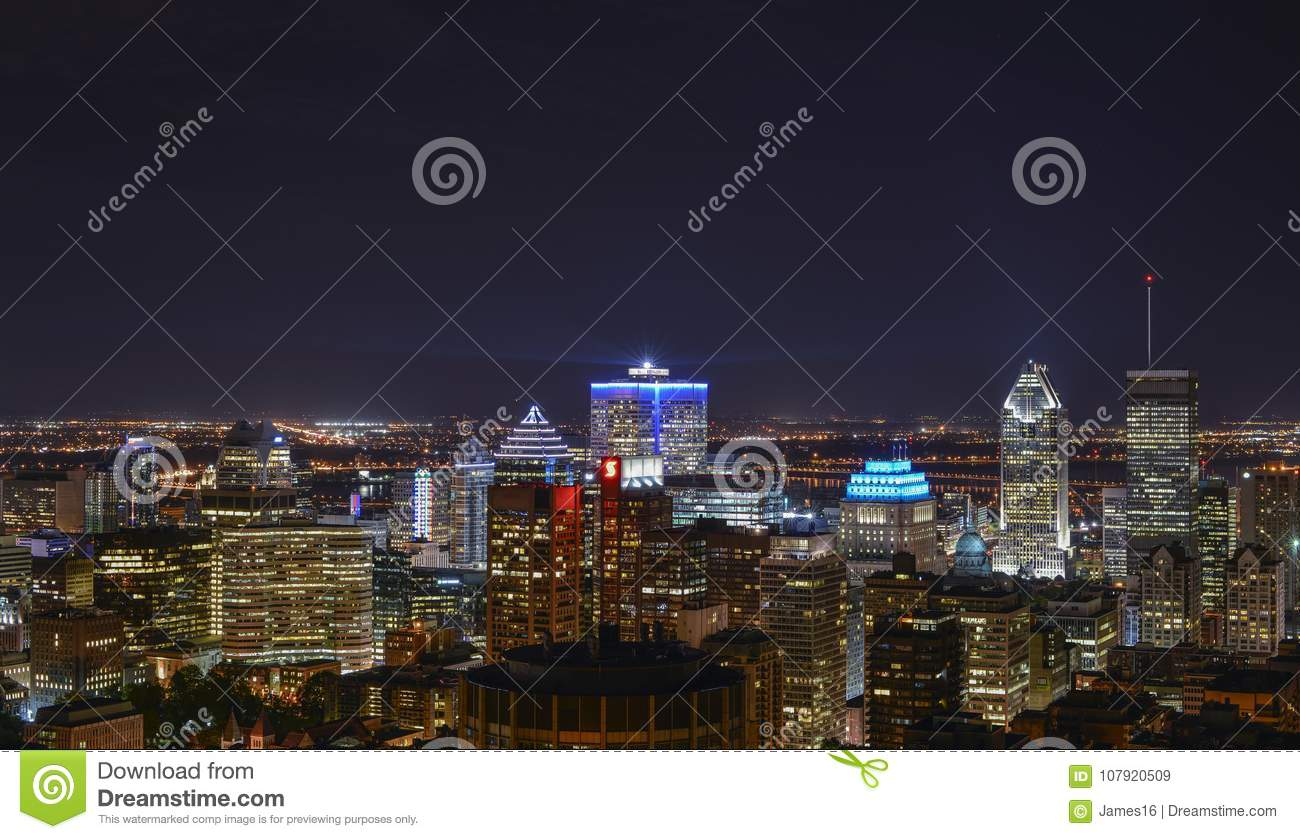 Buildings in downtown Montreal at night
