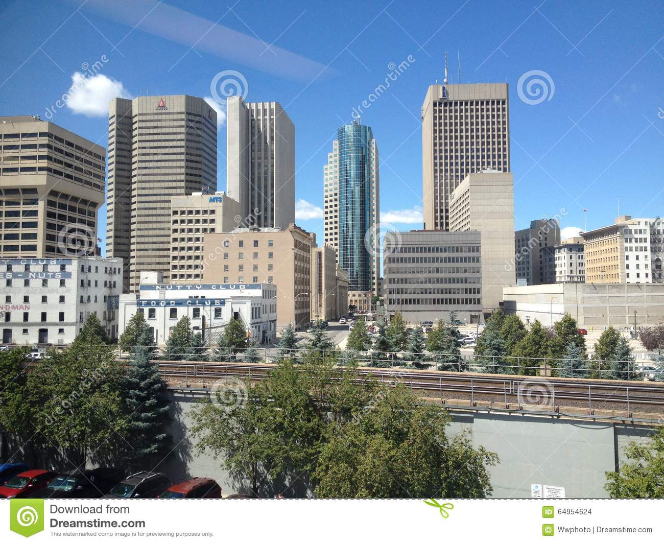 Buildings Of Downtown In Winnipeg Editorial Stock Image