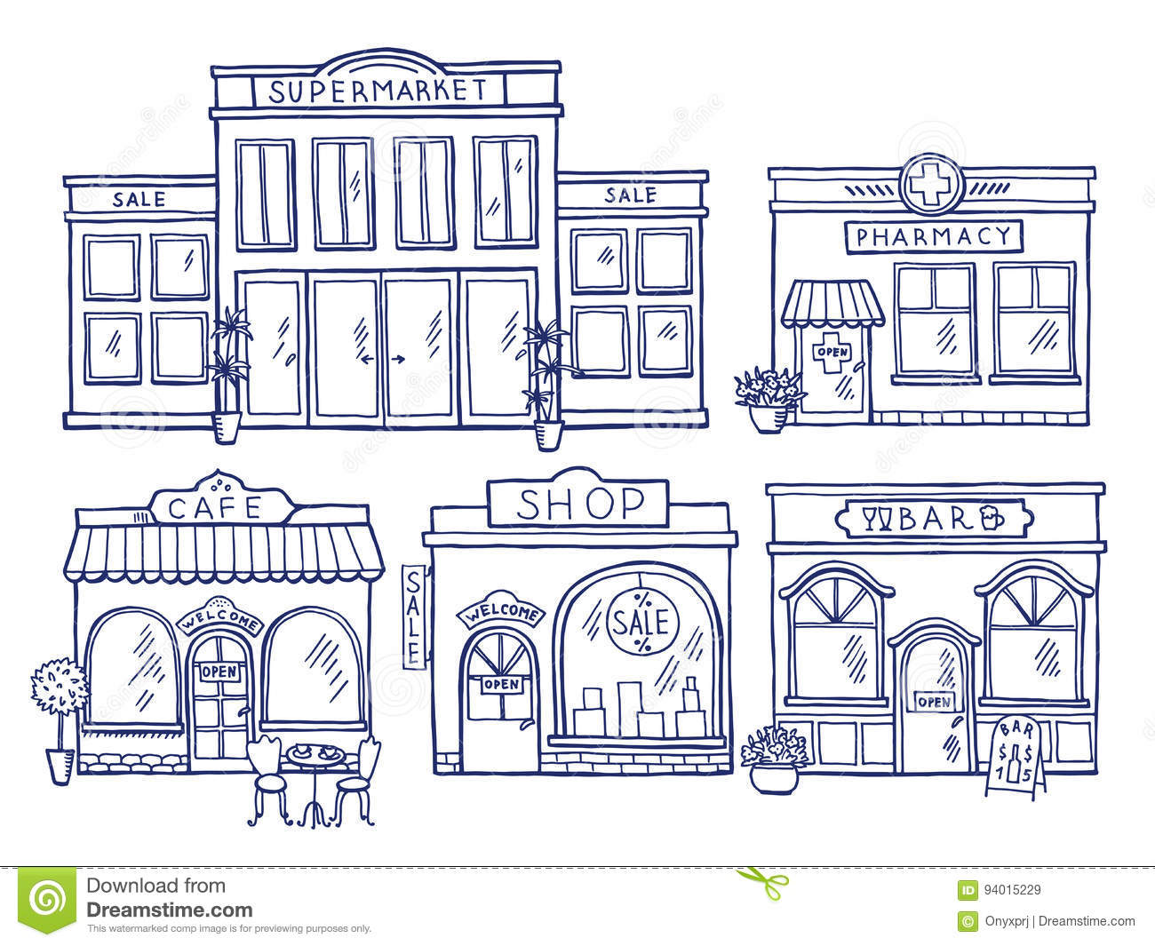 Buildings Facade Front View  Shop, Cafe, Mall And Pharmacy  Doodle