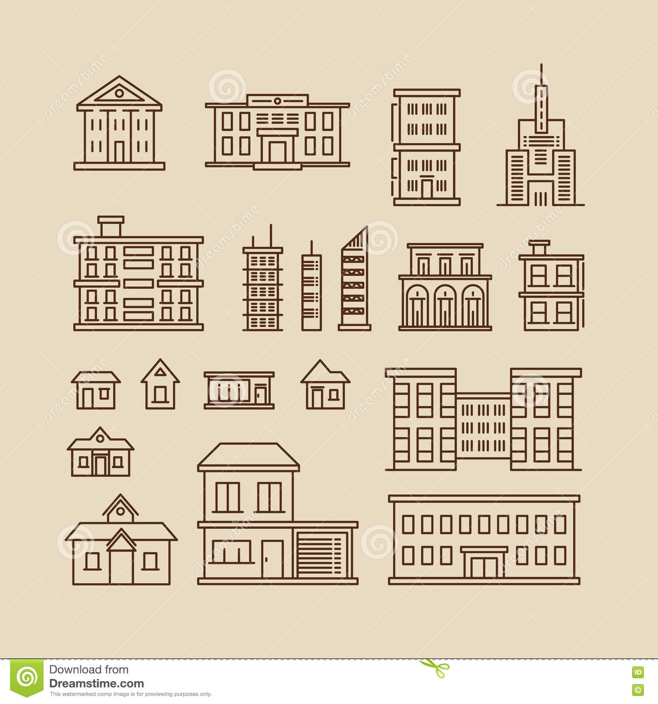 Buildings Line Thin Vector Icons Stock Vector ...
