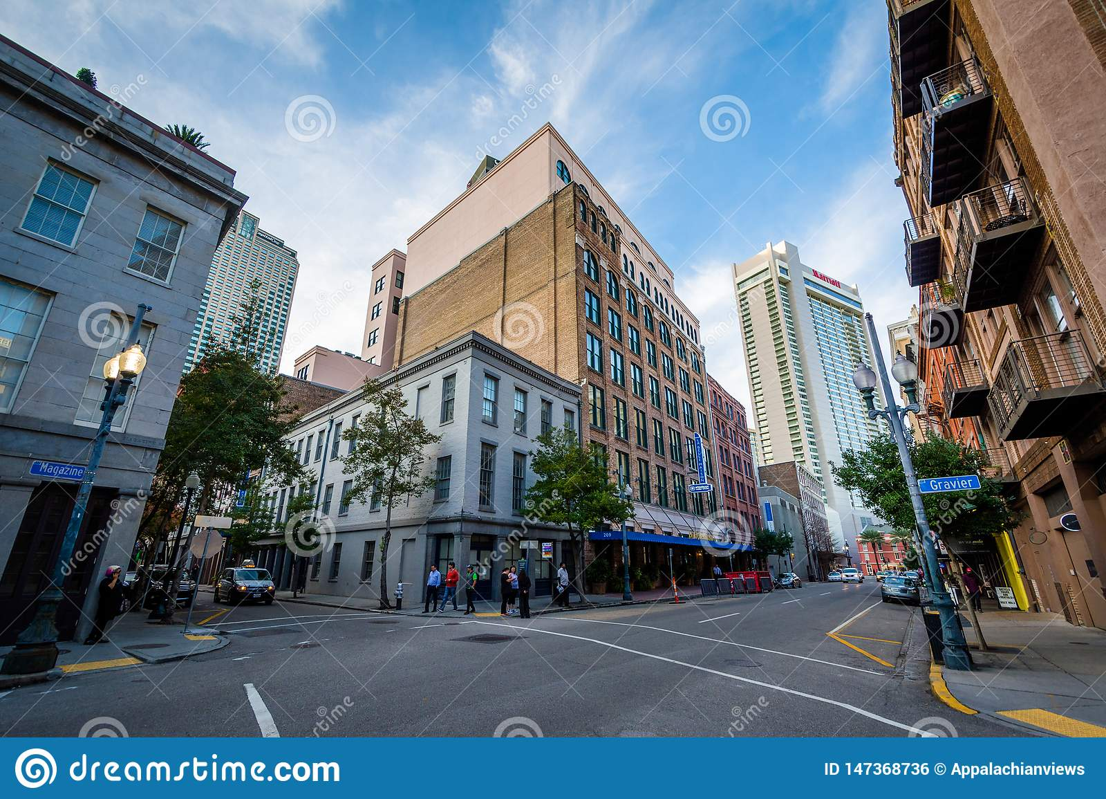 Buildings on Magazine Street, in New Orleans, Louisiana