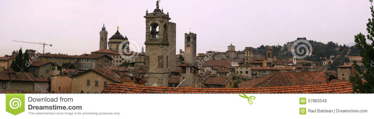 Buildings in the medieval town of Bergamo