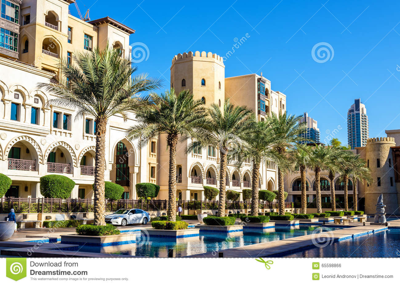 buildings on the old town island in dubai stock photo image of island hotel 65598866. Black Bedroom Furniture Sets. Home Design Ideas