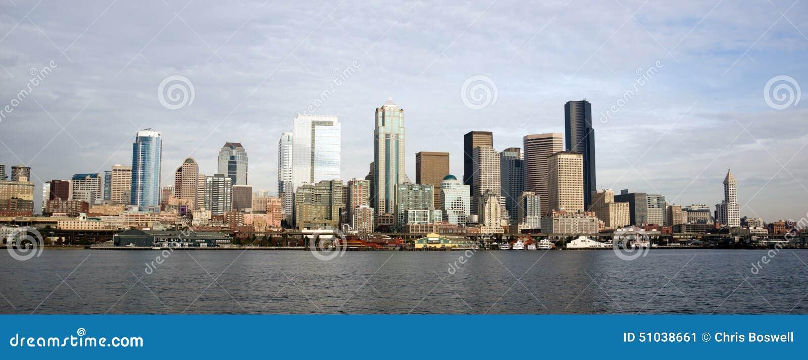 Buildings Piers Elliott Bay Puget Sound Seattle City Skyline Water