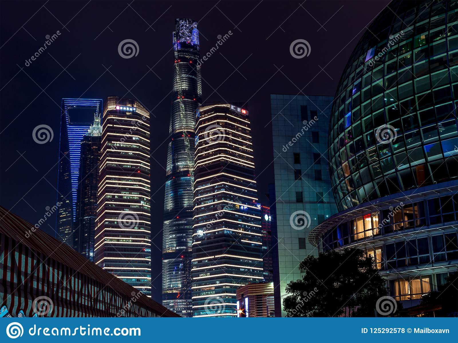 Buildings in Pudong is modern district of Shanghai