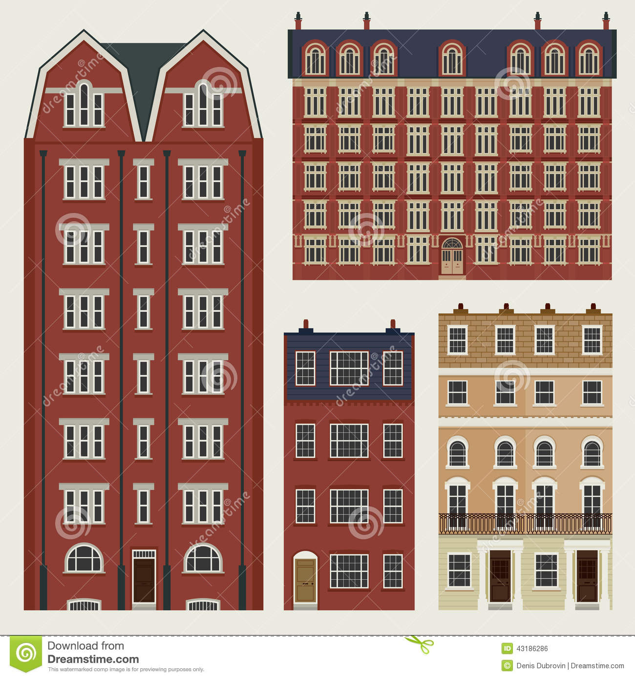 Buildings set with english classic terrace houses stock for English terrace
