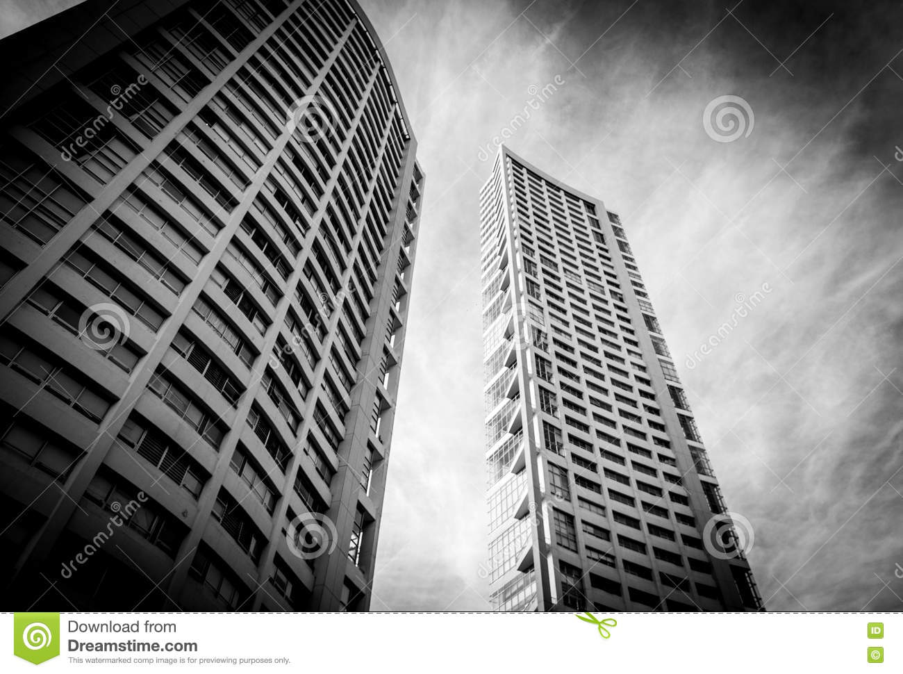 Several tall buildings in guadalajara jalisco mexico city black and white