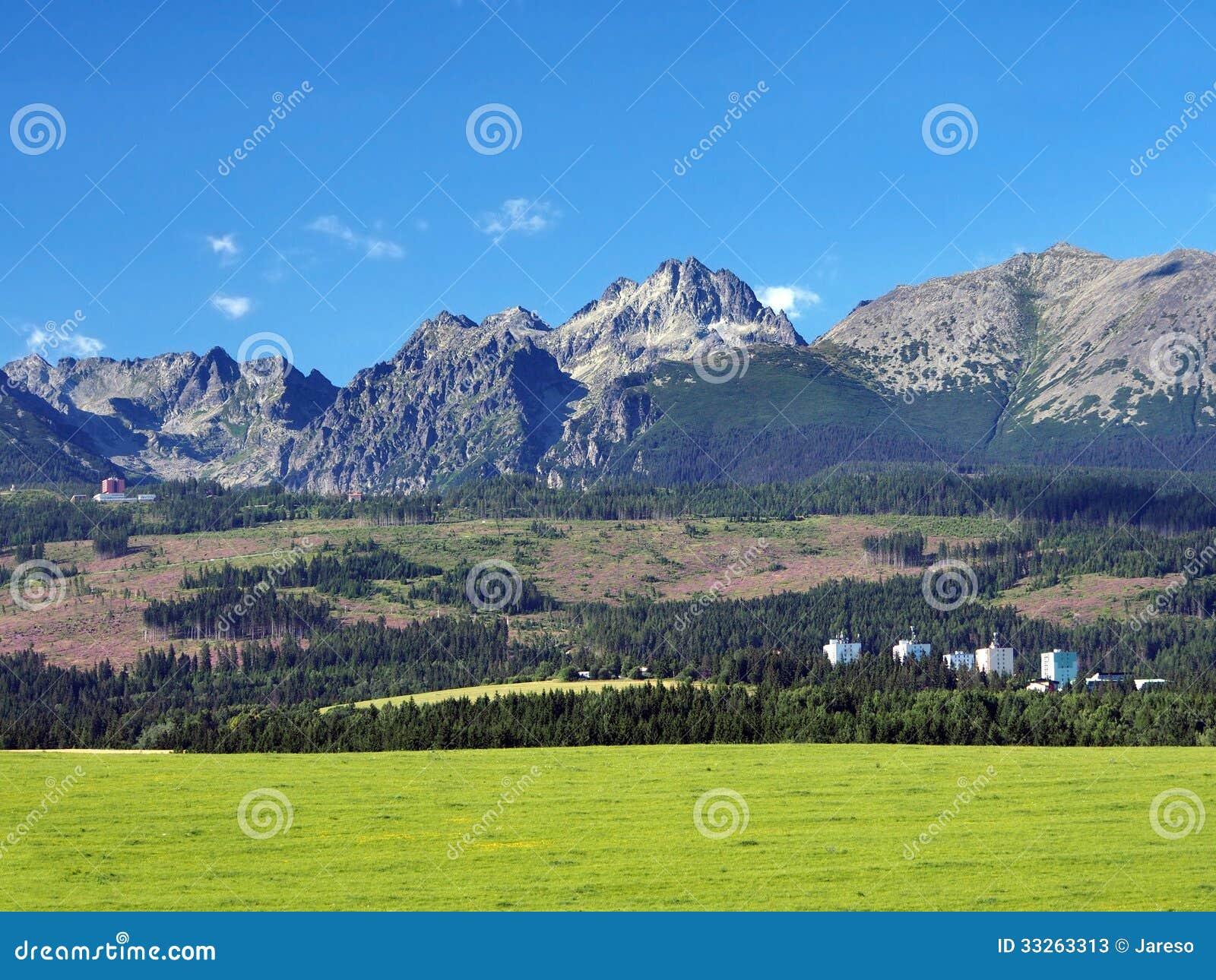 Buildings under High Tatras, Slovakia