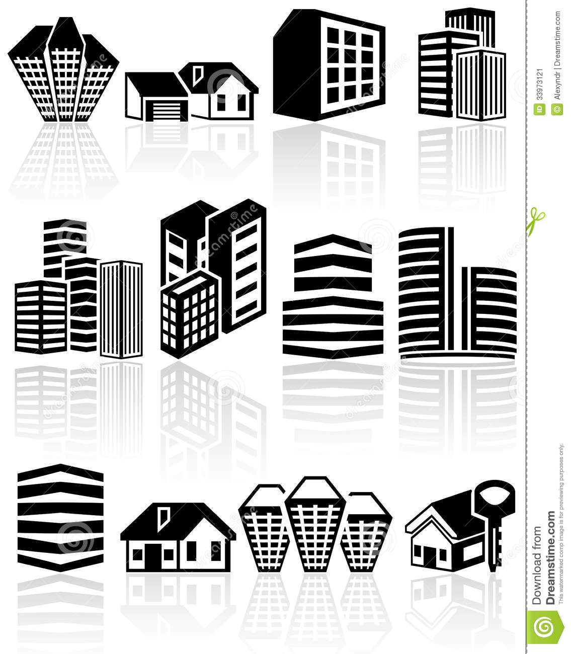 Buildings Vector Icons Set EPS 10 Stock Image
