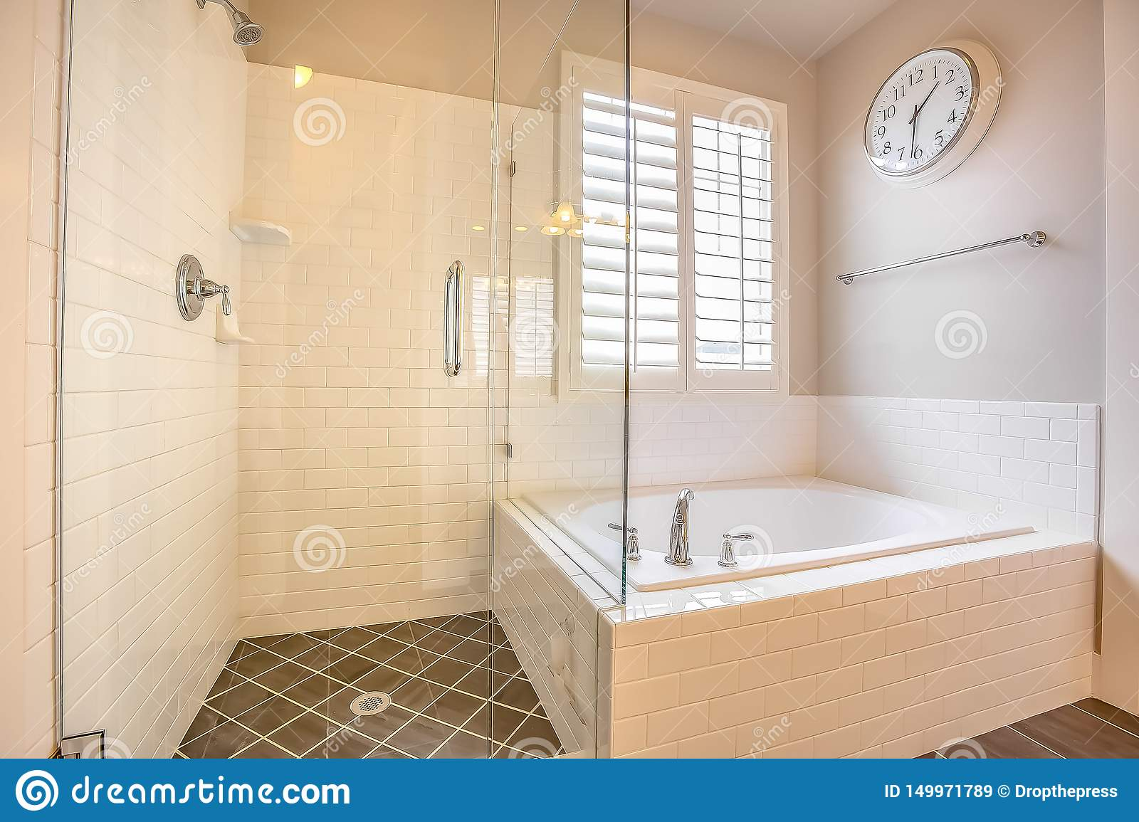 Built In Bathtub And Shower Stall With Glass Door Inside A