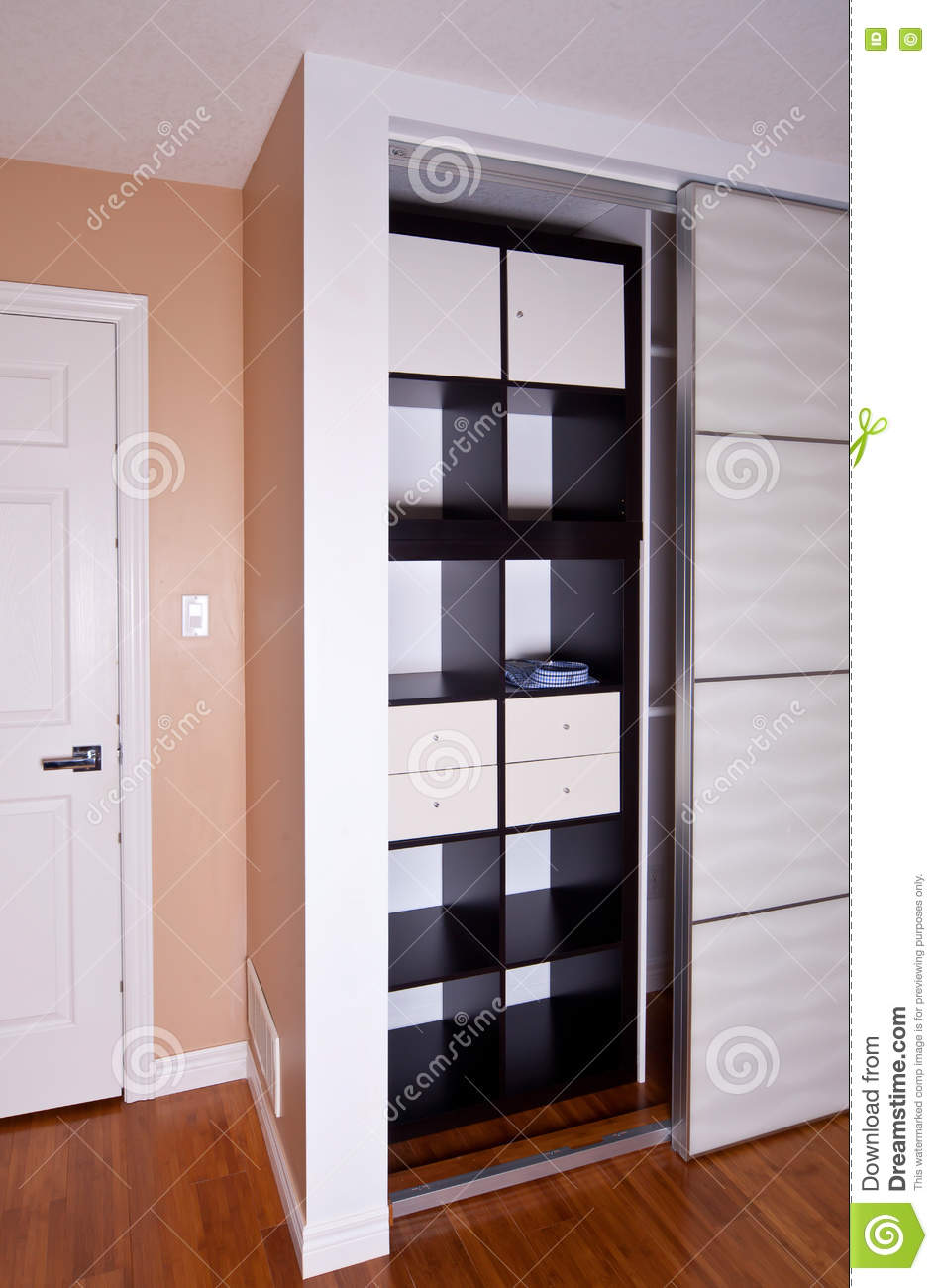 Built In Closet With Sliding Door Shelving Storage Organization