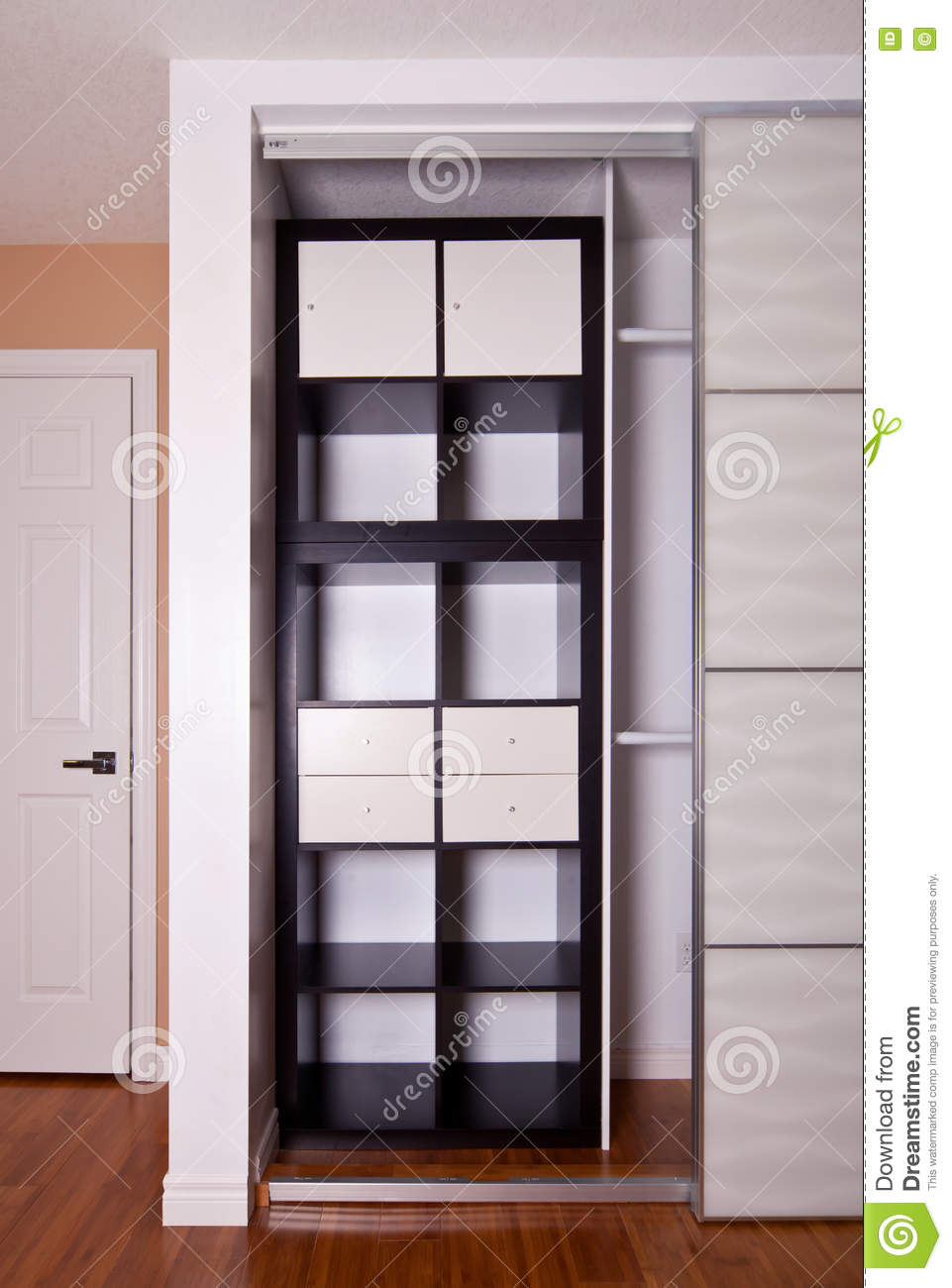 Built In Closet With Sliding Door Shelving Storage Organization Stock Photo Image Of Front Renovation 80644918