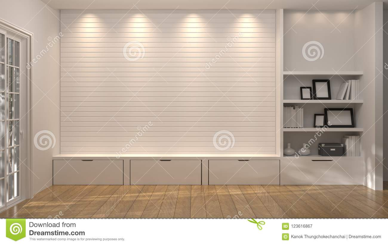 Built In Furniture Set Tv Cabinet In Empty Room Interior Background 3d Illustration Wooden Floor Home Shelves And Books On The Des Stock Illustration Illustration Of Indoor Atmosphere 123616867