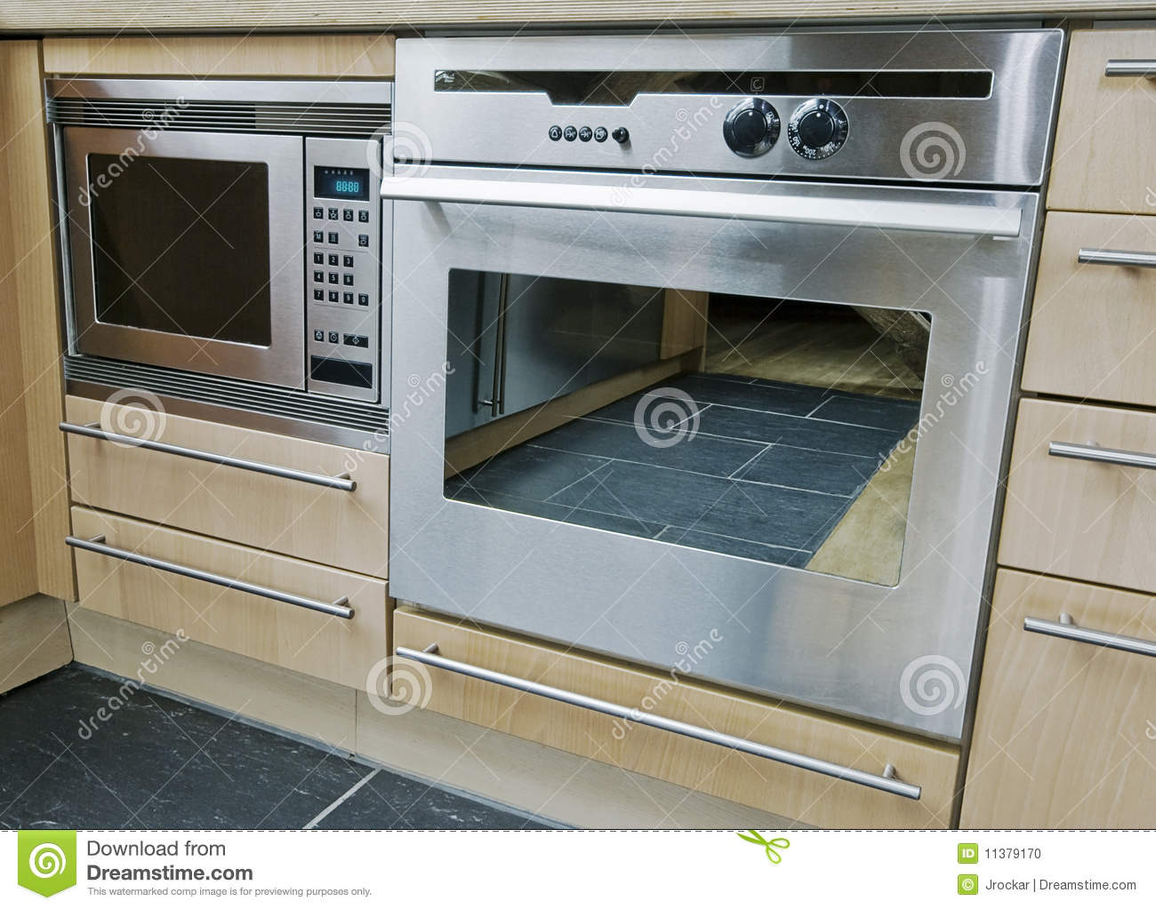 Built In Kitchen Appliances Stock Photo - Image of oven, storage ...