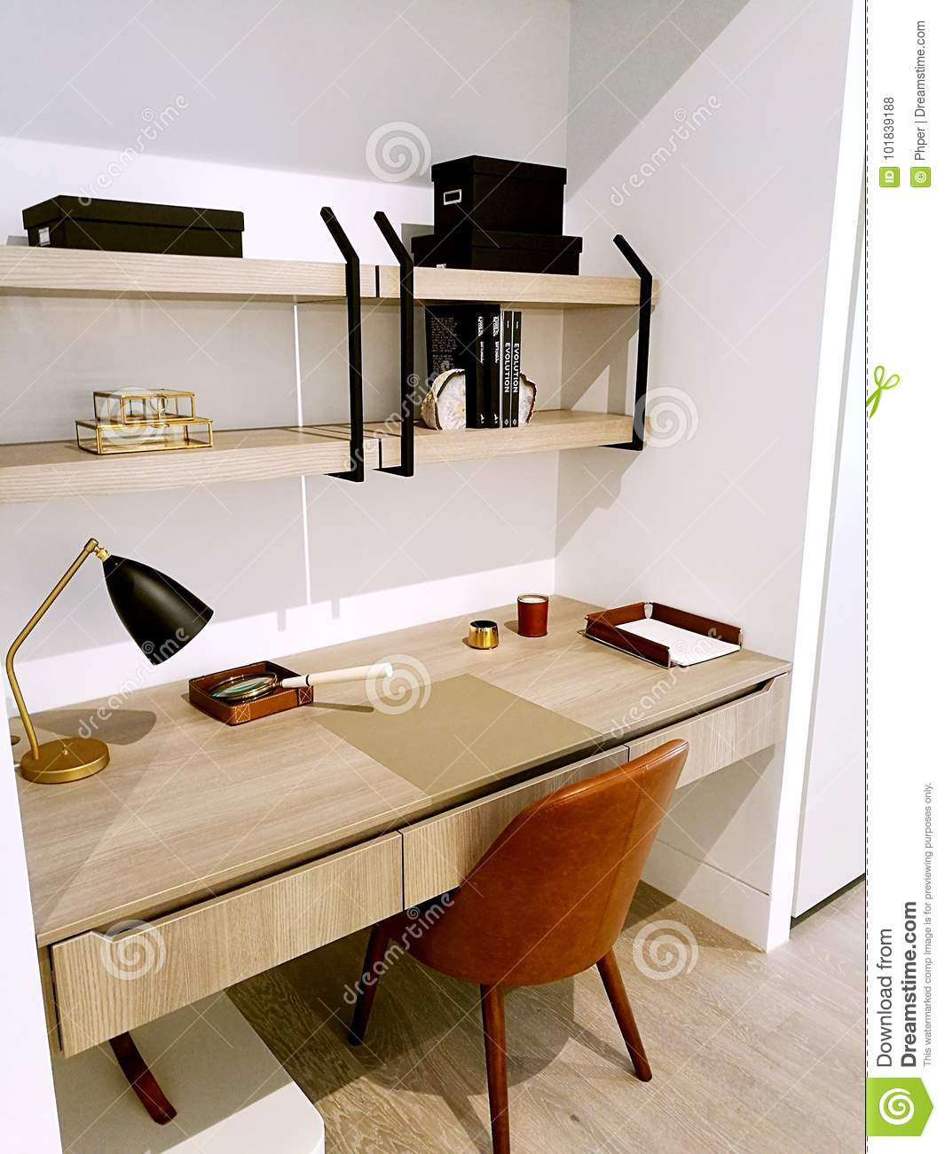 Small Study Room Ideas: Modern Interior Design Built-in Study Room Editorial Stock