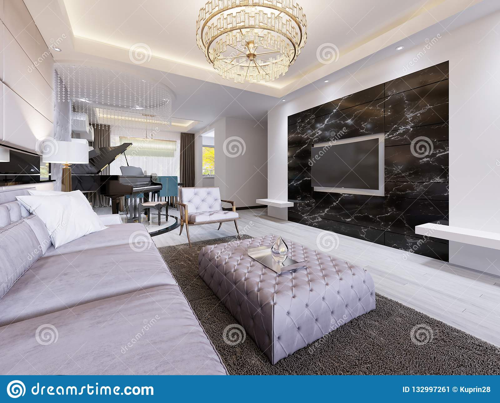 Built In Tv On The Wall In The Luxurious Living Room Black Marble Wall With Tv And White Shelves Modern Living Room In Stock Illustration Illustration Of Interior Decor 132997261