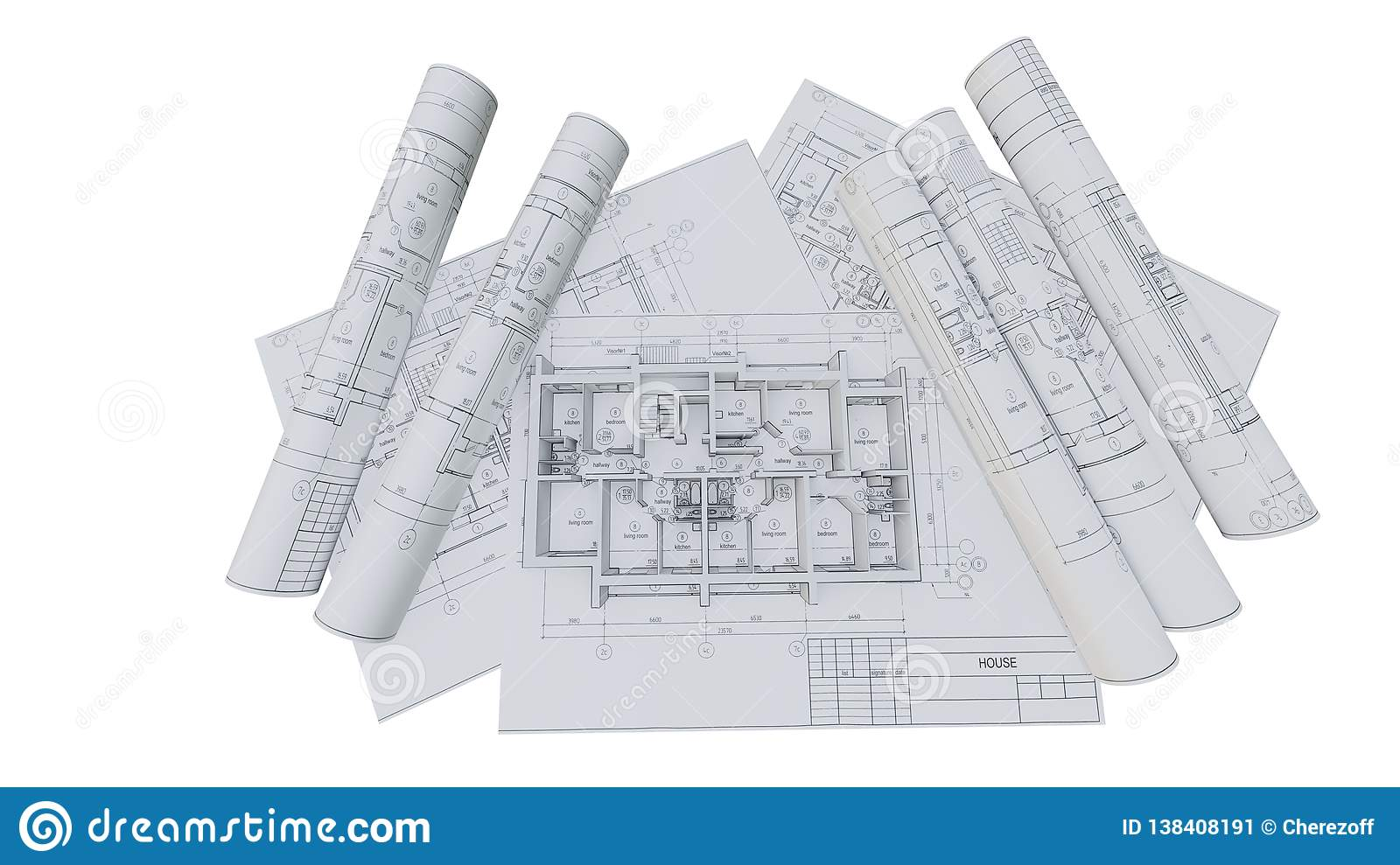 Built Walls Of A House On Construction Drawings Stock