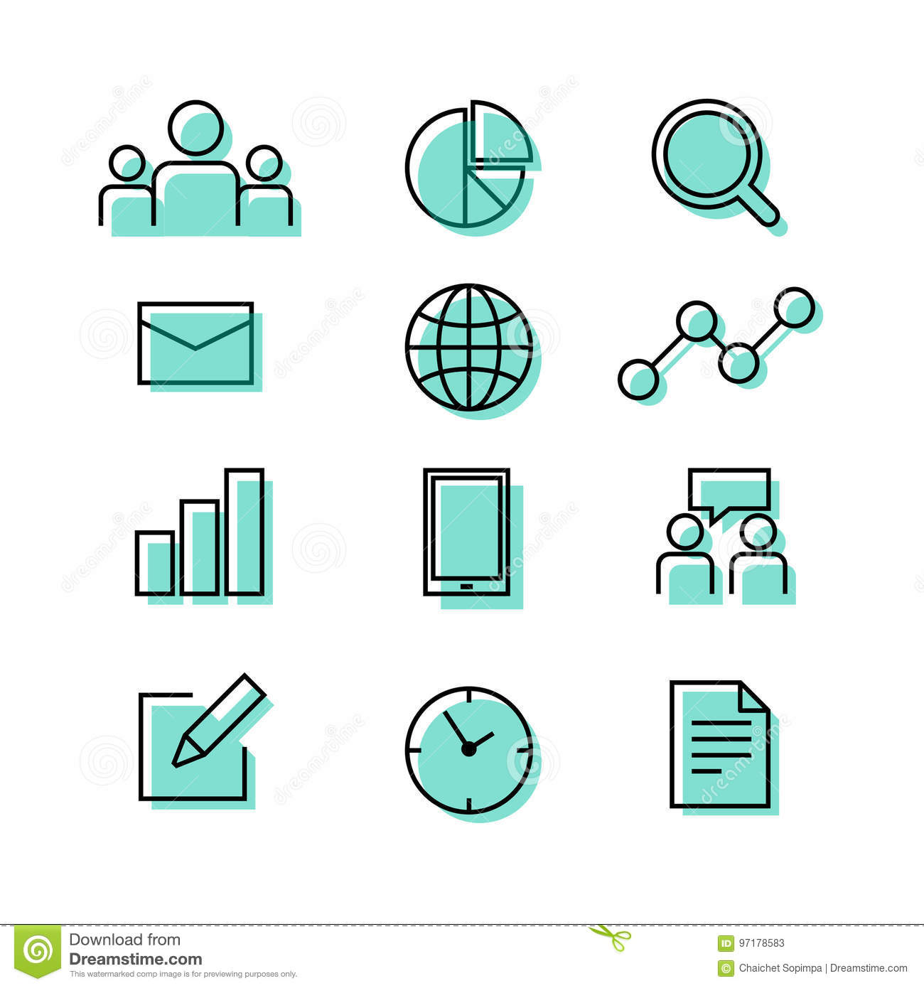 buiness corporate teamwork graph chart paper and time icon stock