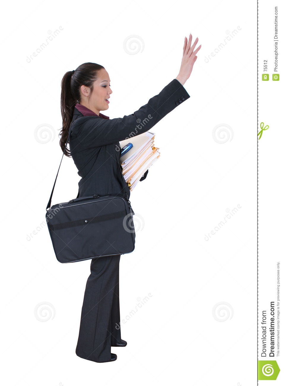 Buisiness Woman Hailing a Cab or Friend