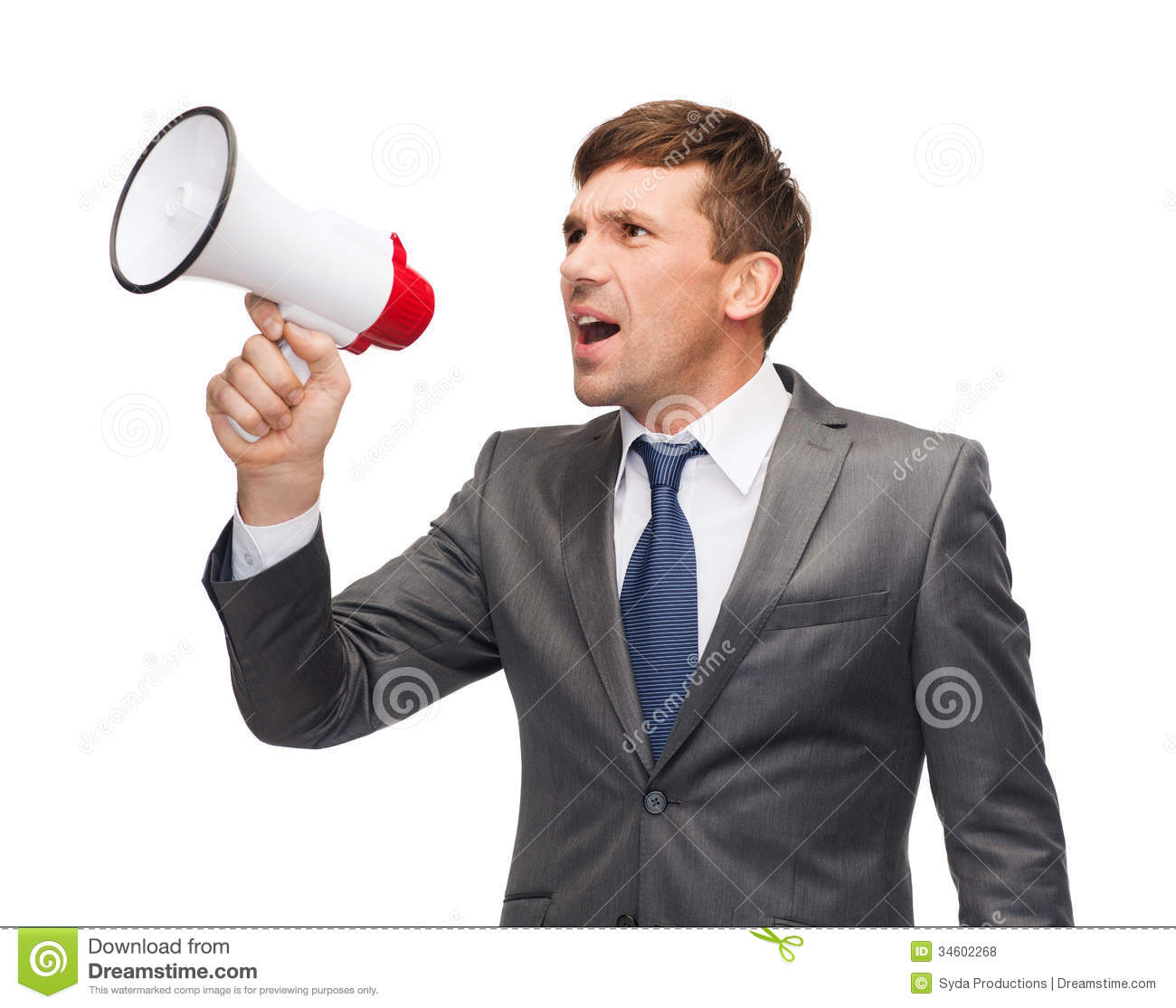 Buisnessman with bullhorn or megaphone
