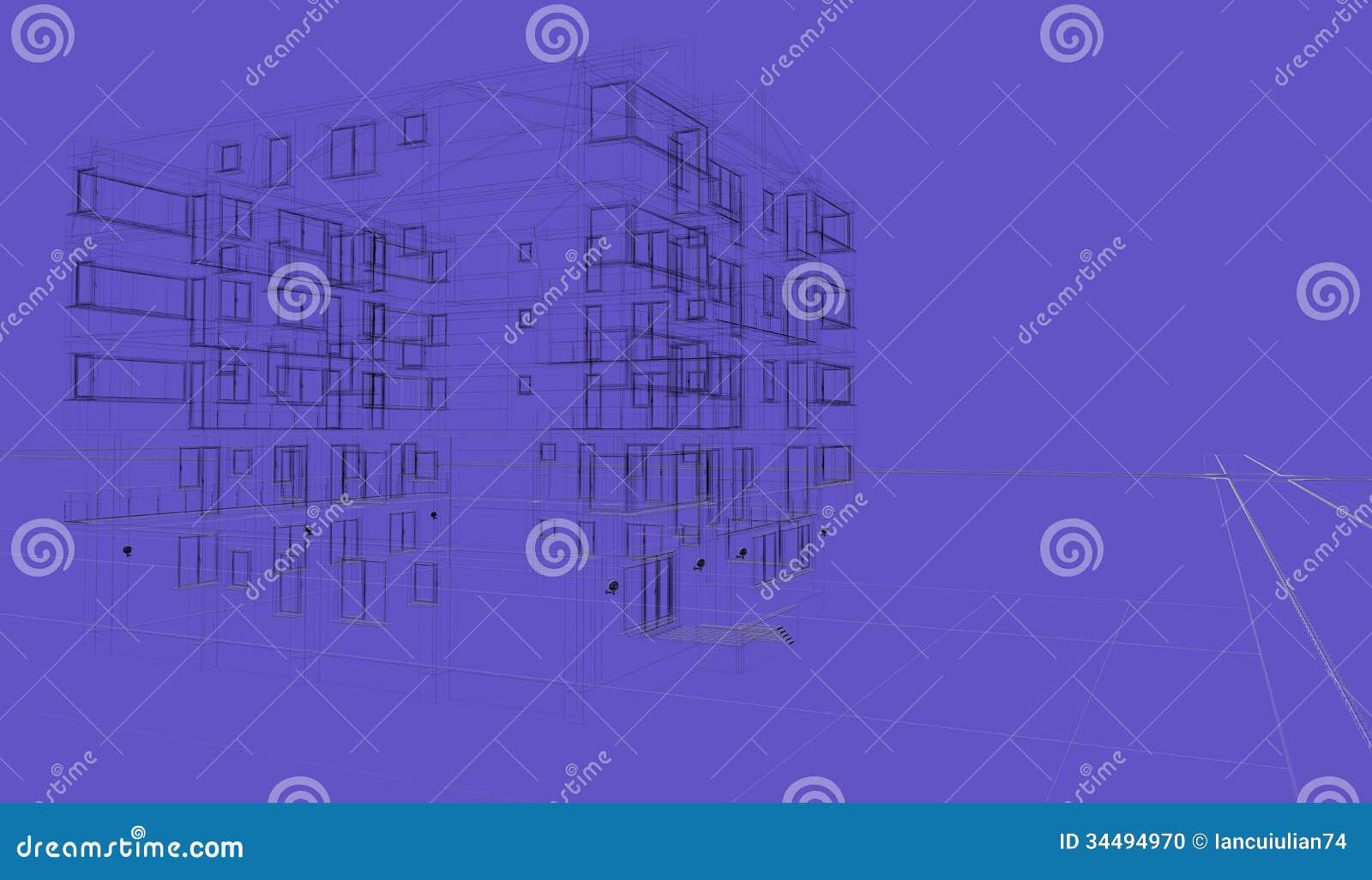 Buiten blauwe achtergrond die wireframes ontwerp die architectuur teruggeven bouwen stock foto - Ontwerp buitenkant ontwerp ...