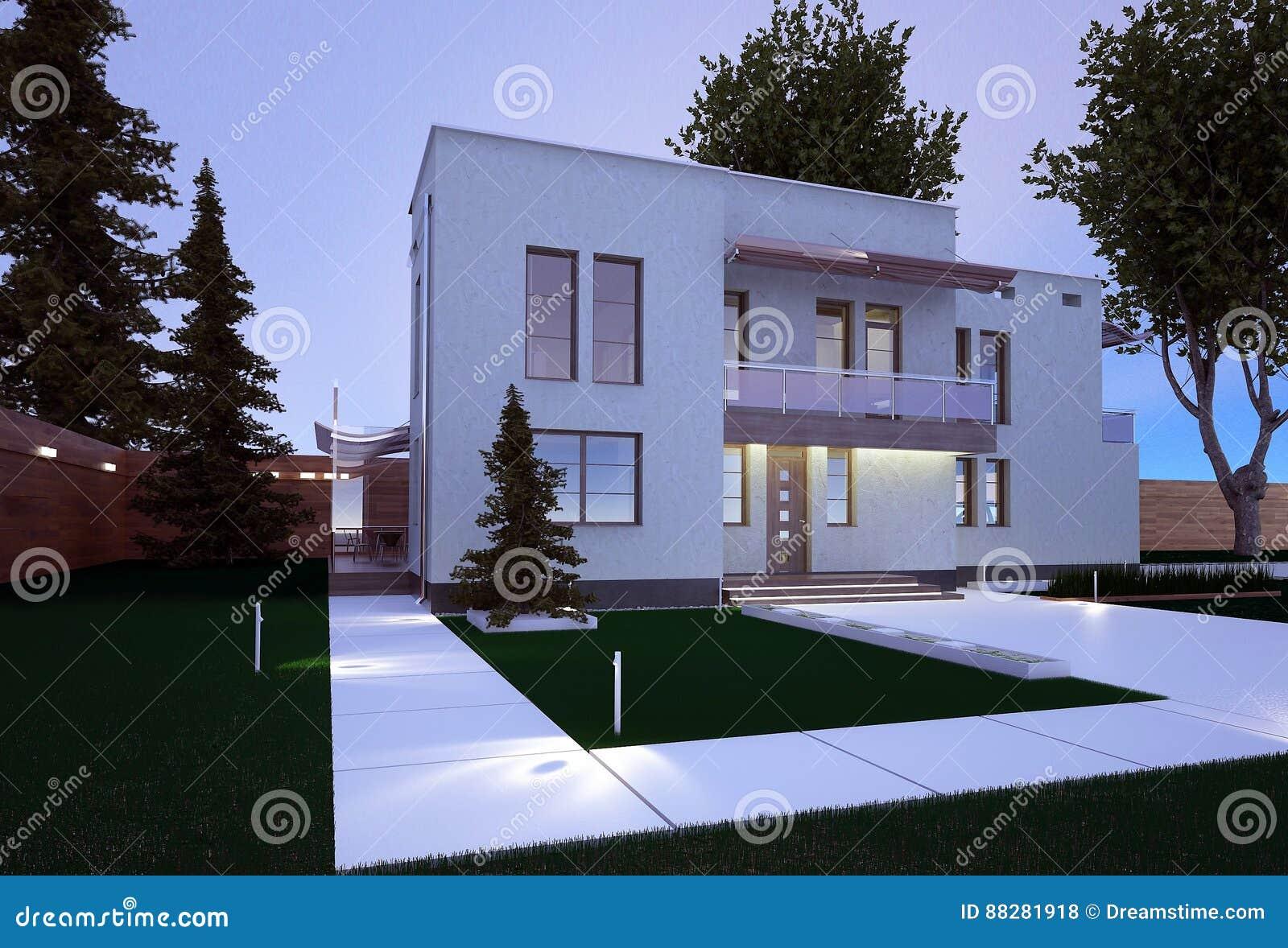 Buitenkant van een huis in een moderne stijl stock illustratie