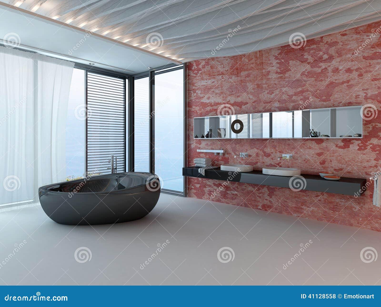 Buitensporig badkamersbinnenland met rode muur en zwarte for Salle de bain moderne 7m2