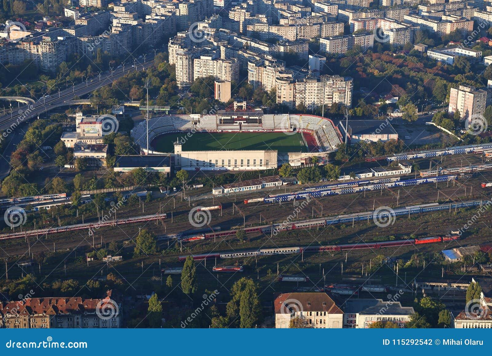 Bukarest, Rumänien, am 9. Oktober 2016: Vogelperspektive schnellen Bukarest-Stadions