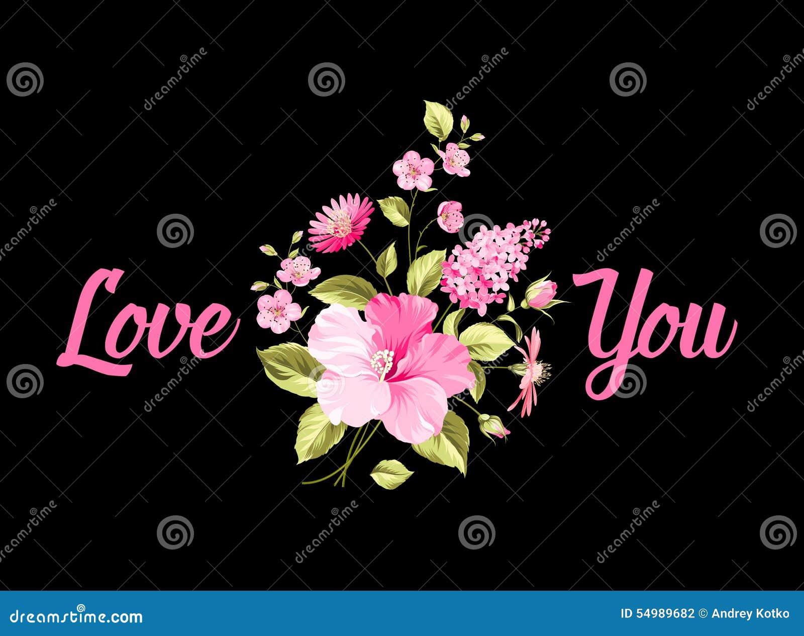 Bukett av blommor jag älskar dig