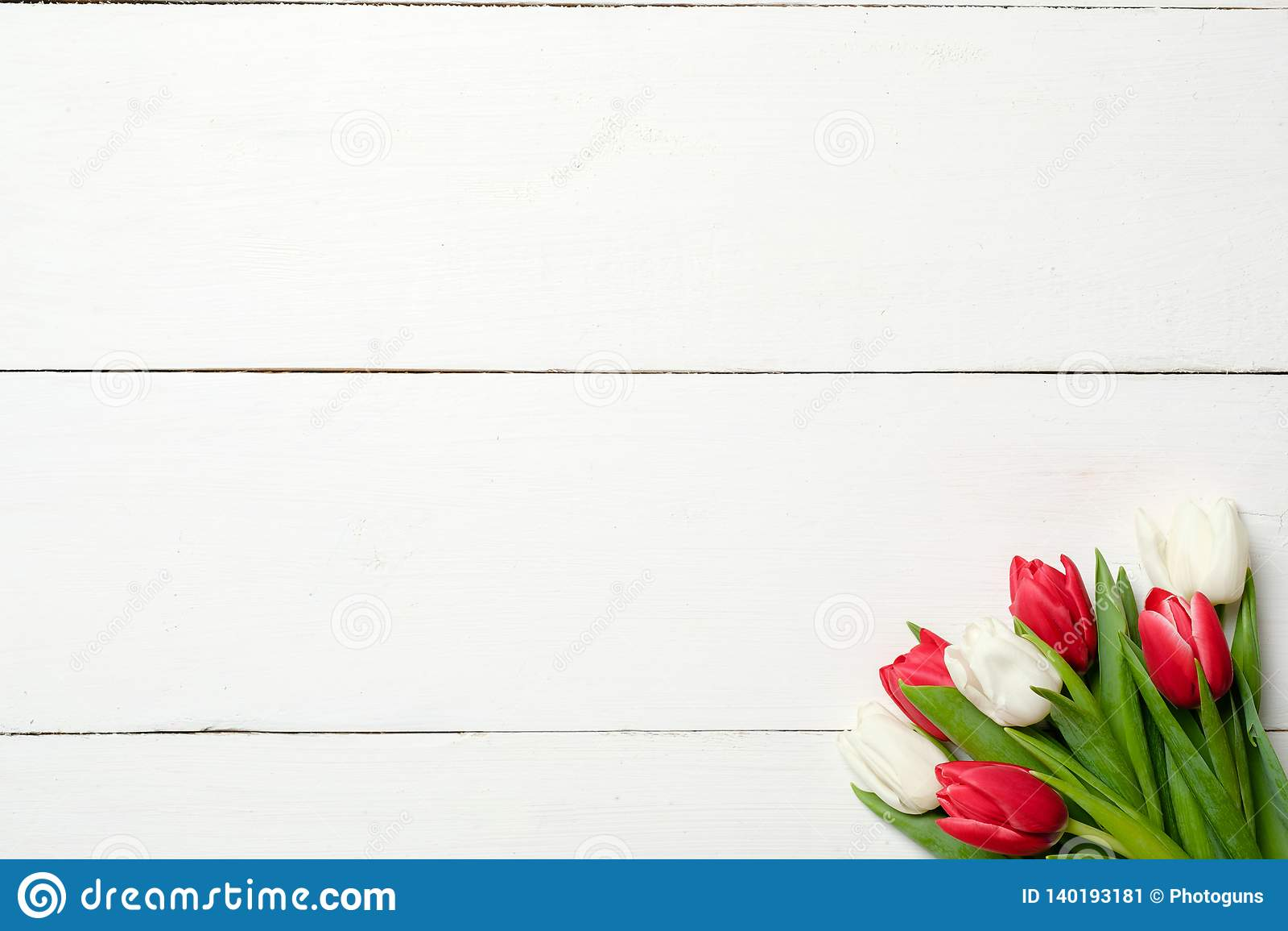 Bukett av tulpan på det högra hörnet på vit träbakgrund Bästa sikt, ram, gräns, kopieringsutrymme Hälsningkort för kvinnas dag,