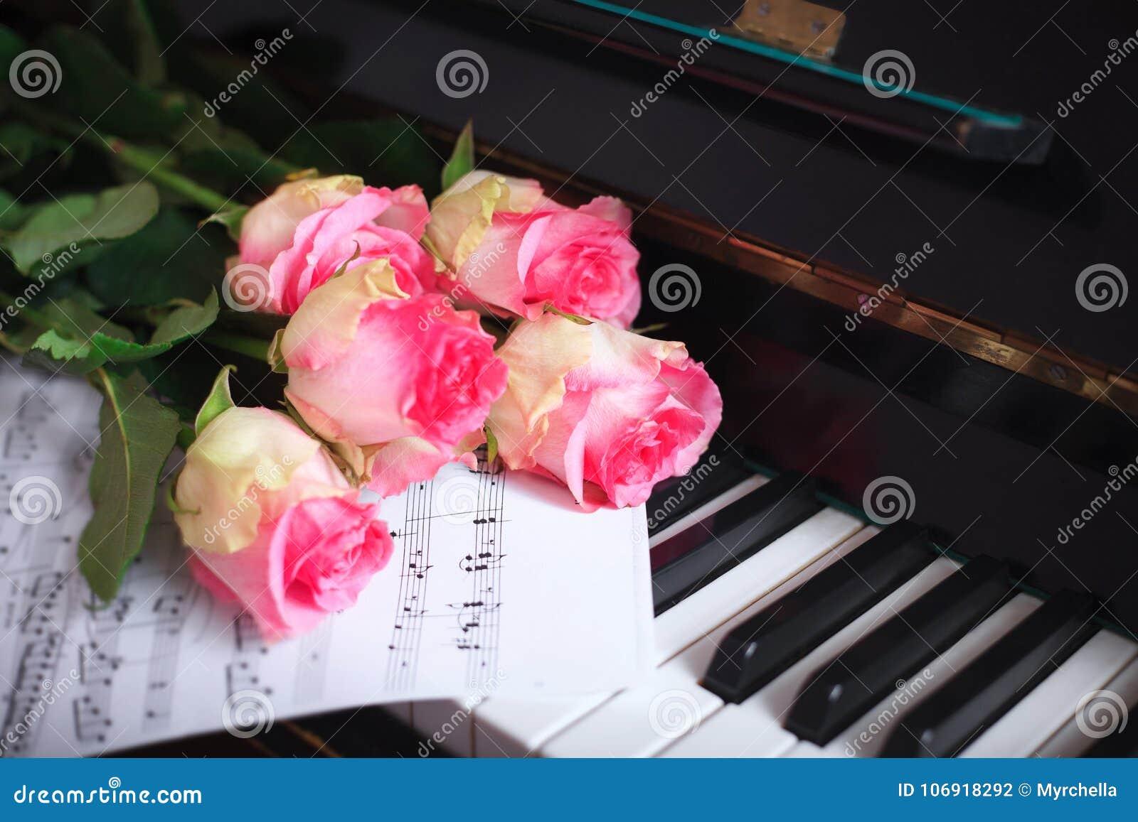 Bukiet różowe róże i notatki na fortepianowej klawiaturze