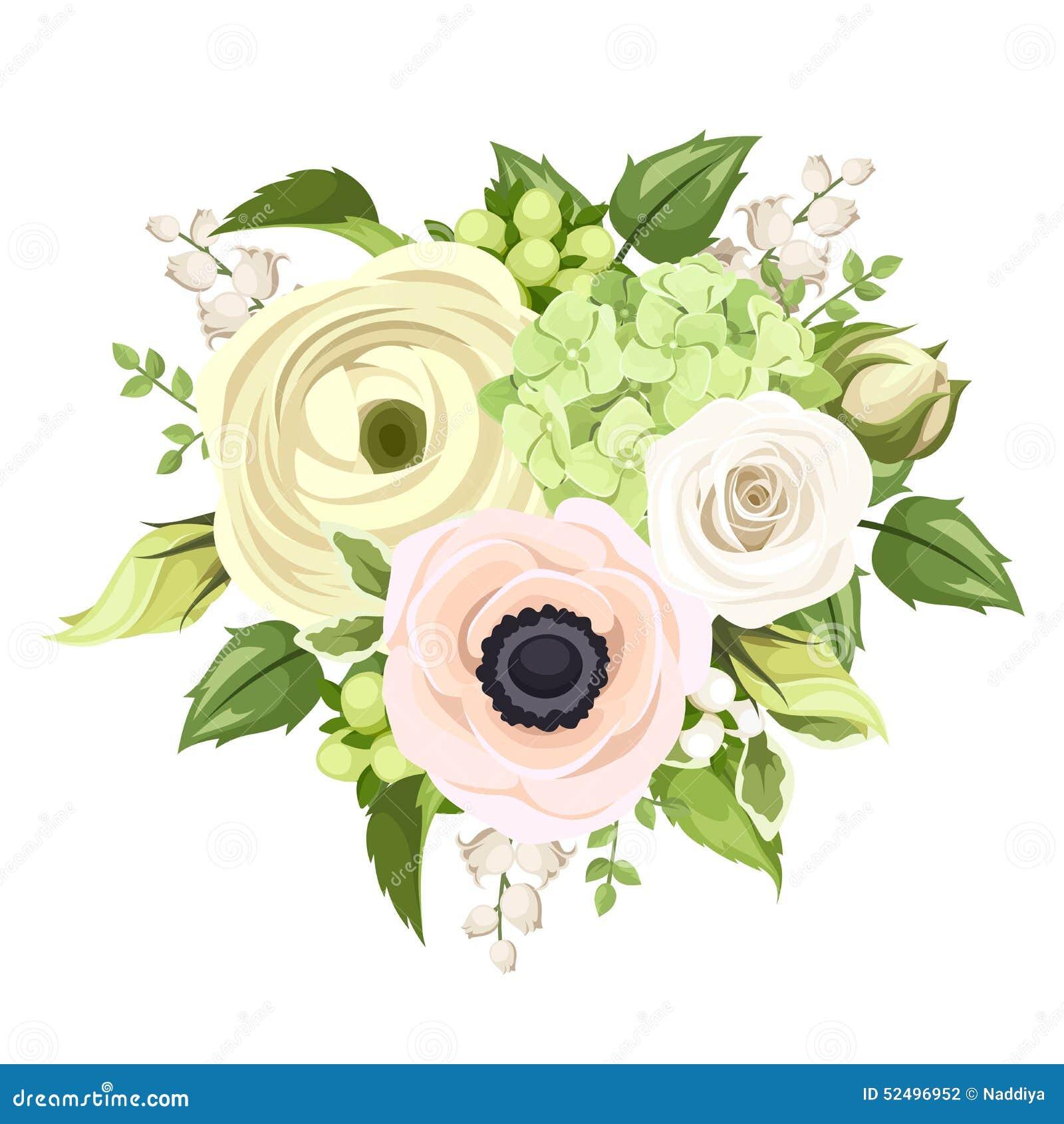 Bukiet z wzrastał, anemon, ranunculus, leluja dolina i hortensja kwiaty, również zwrócić corel ilustracji wektora