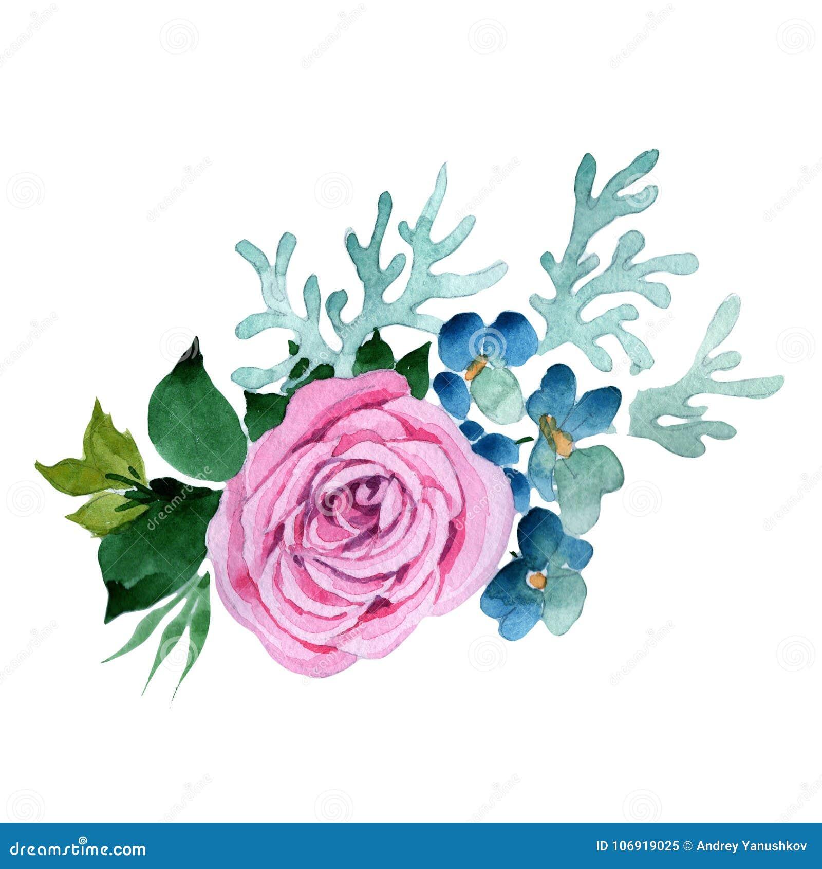 Bukieta kwiat w akwarela stylu odizolowywającym