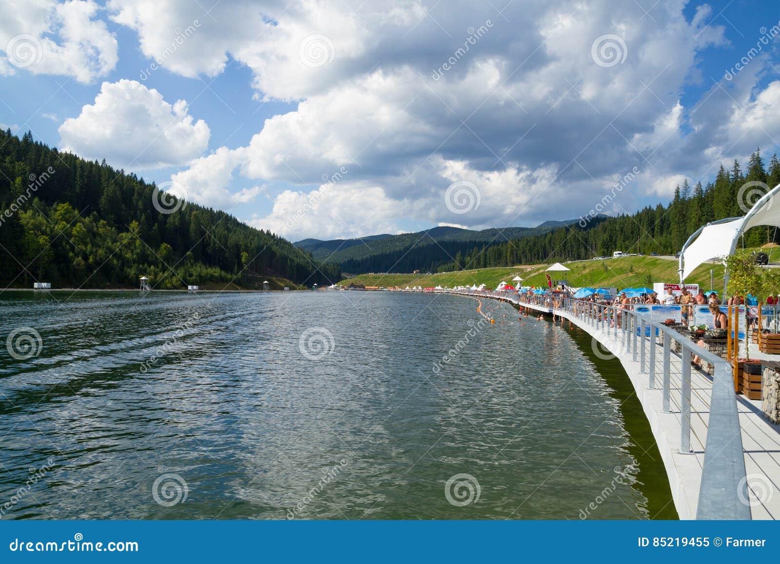 bukovel resort carpathian mountains in ukraine. editorial image