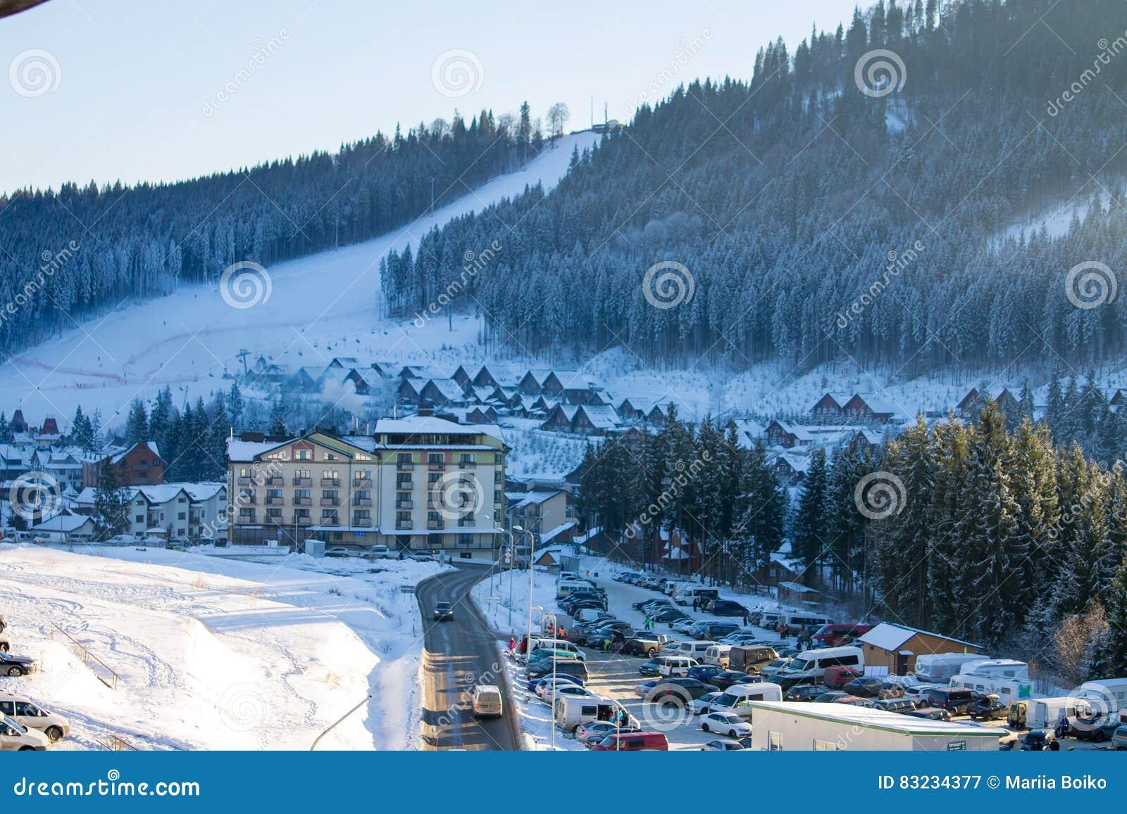 bukovel ski resort in carpathian mountains editorial photography