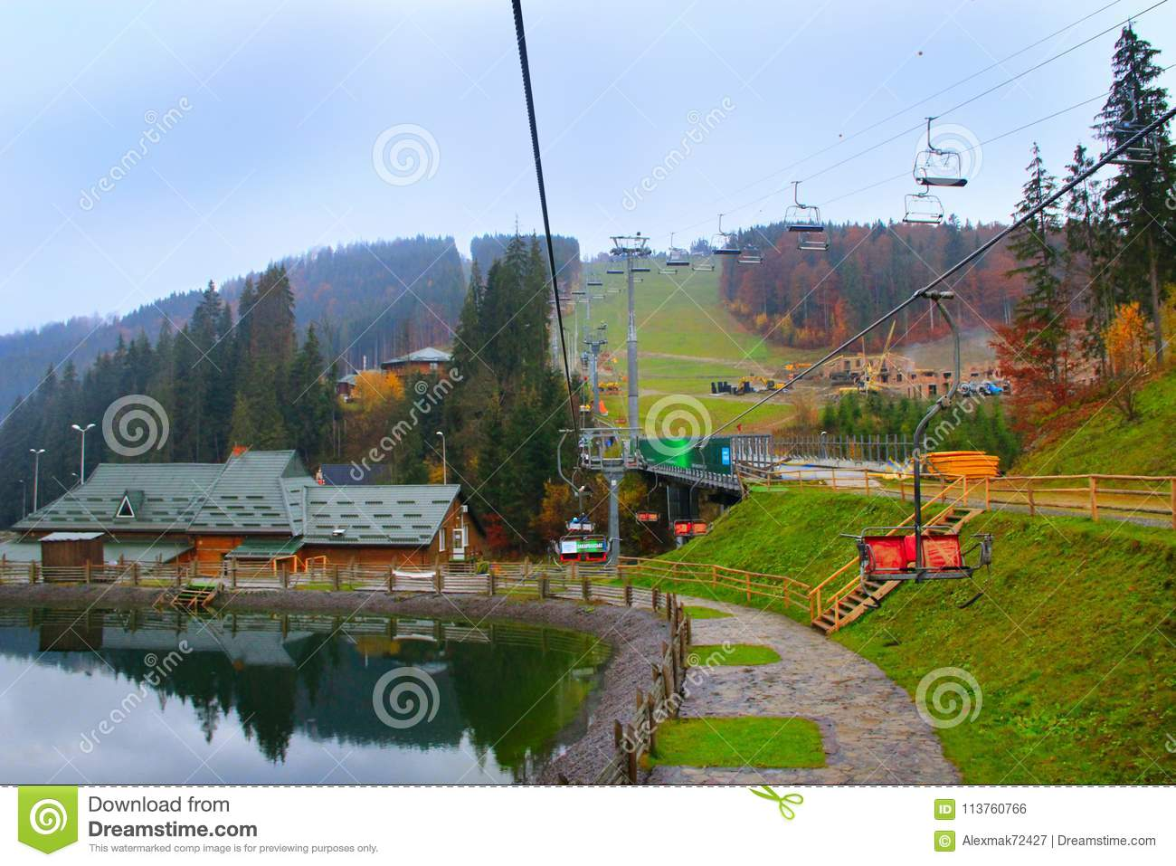 picturesque lake and tourist houses in ukrainian ski bukovel
