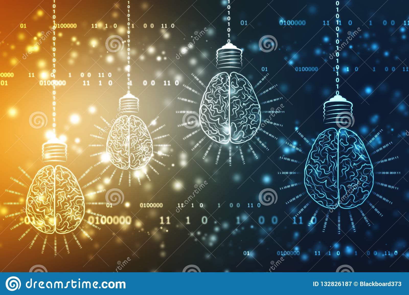 Bulb future technology with Brain, innovation background, Artificial Intelligence Concept