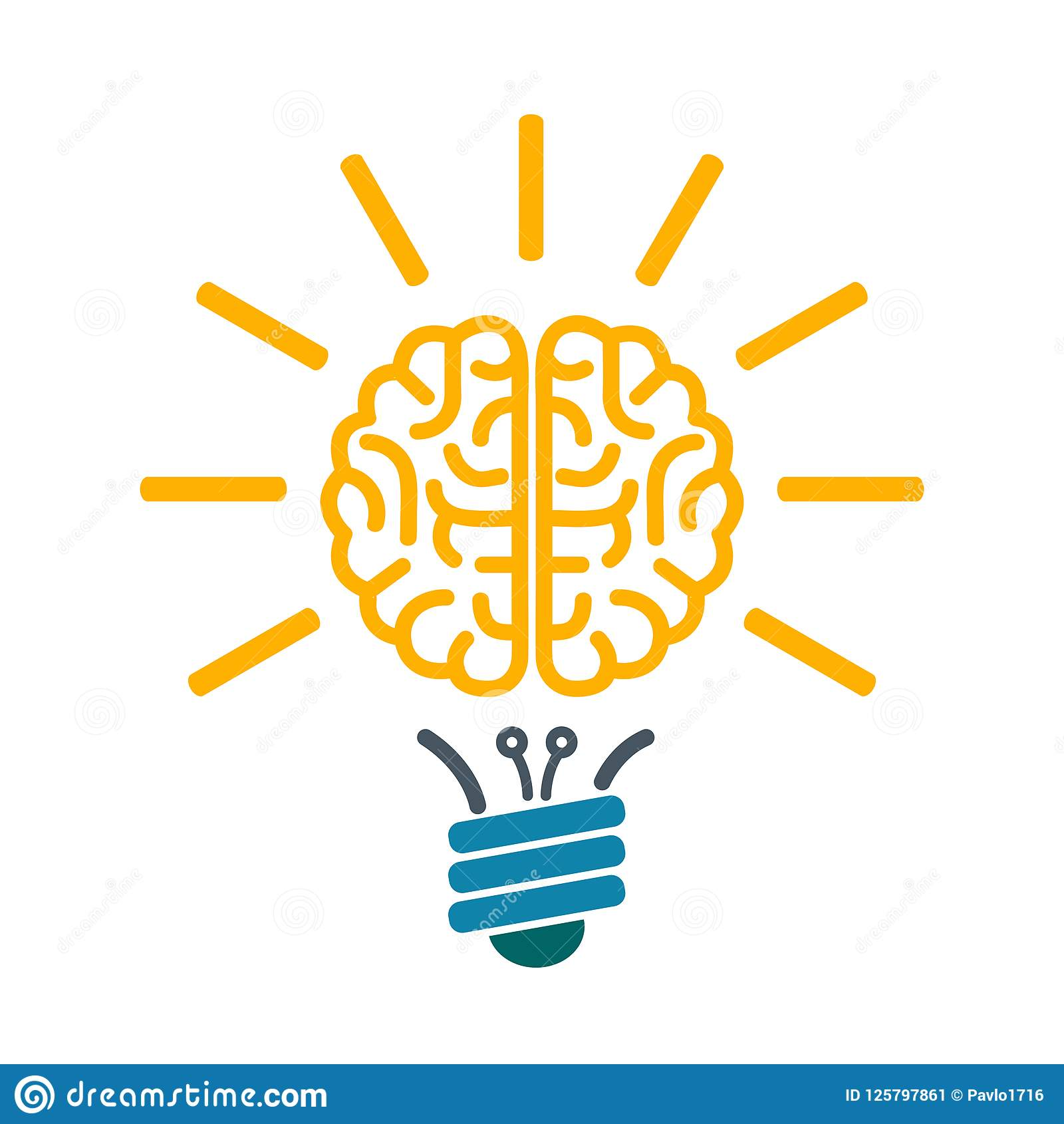 Bulb with human brain, brainstorming concept - vector
