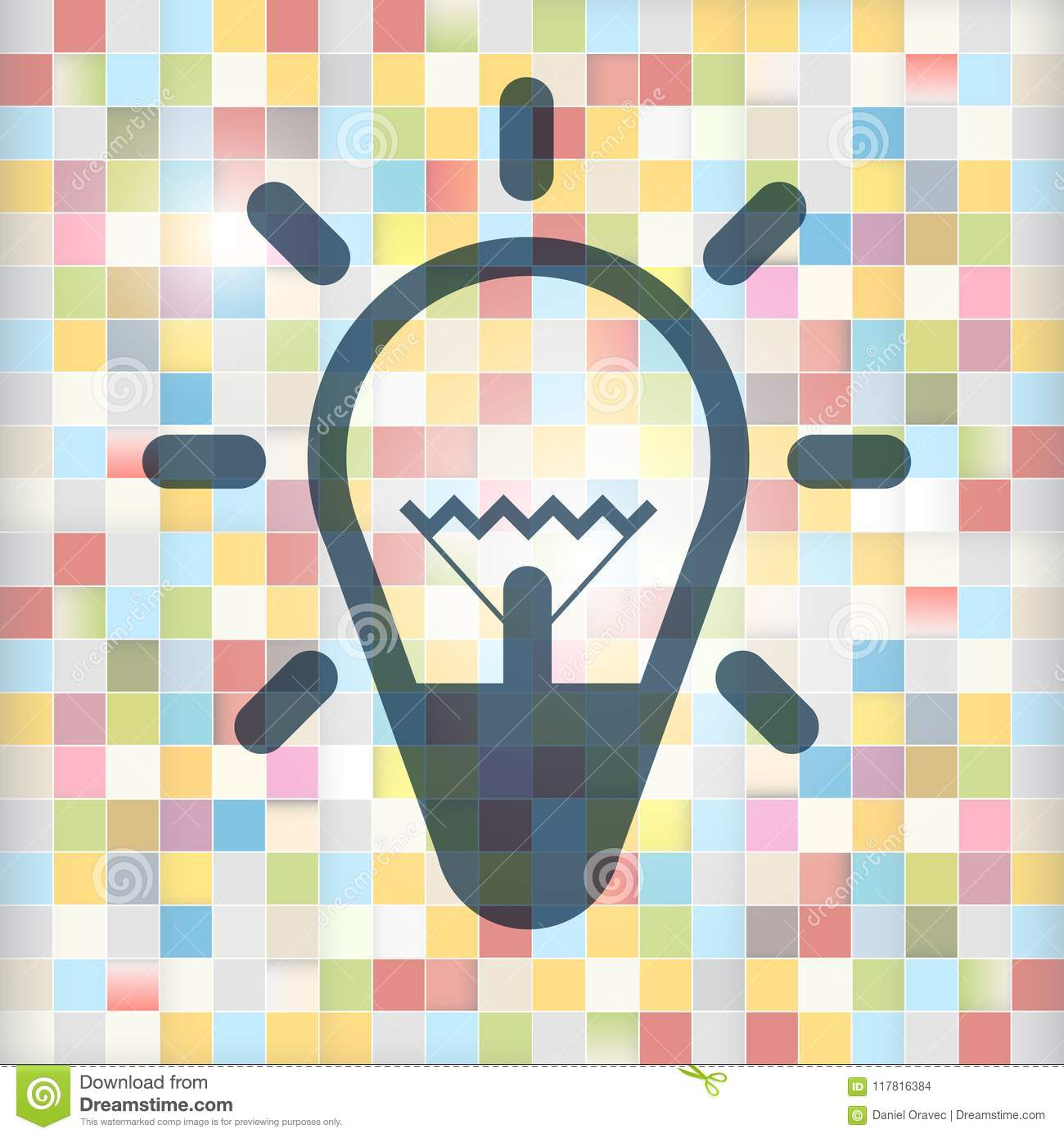 Bulb Icon on Colorful Squares Background.