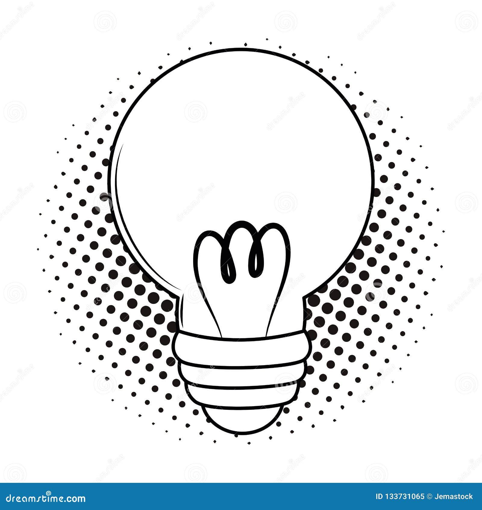 Bulb Light Cartoon Pop Art Black And White Stock Vector