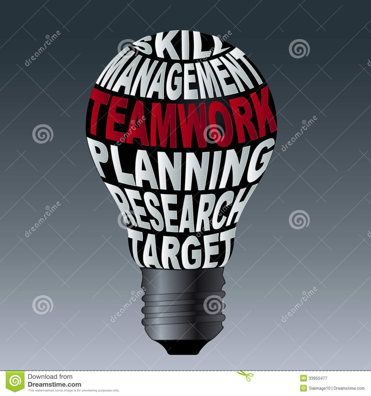 Bulb Of Skill Management Teamwork Planning Research Target Royalty ...