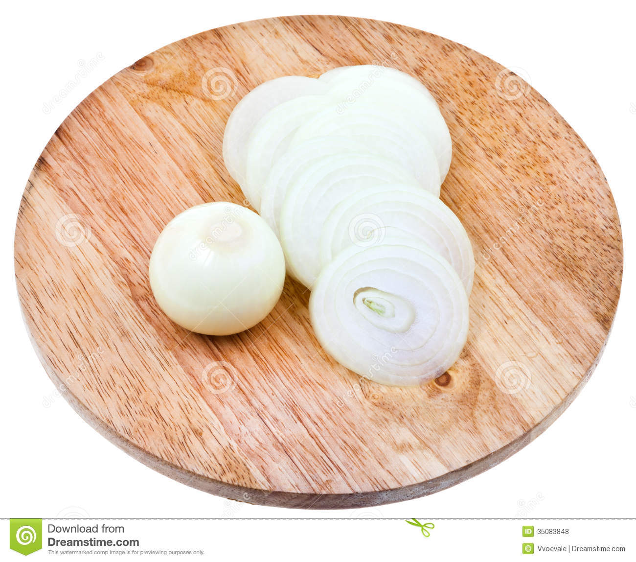 Bulb And Sliced Onions On Wooden Cutting Board Stock Photo ...