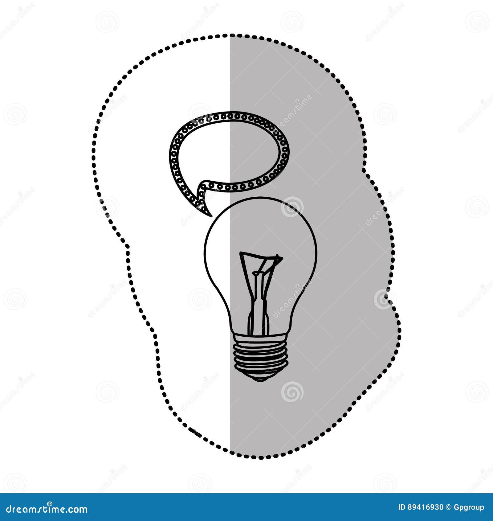 Bulbo com ícone de uma comunicação da bolha