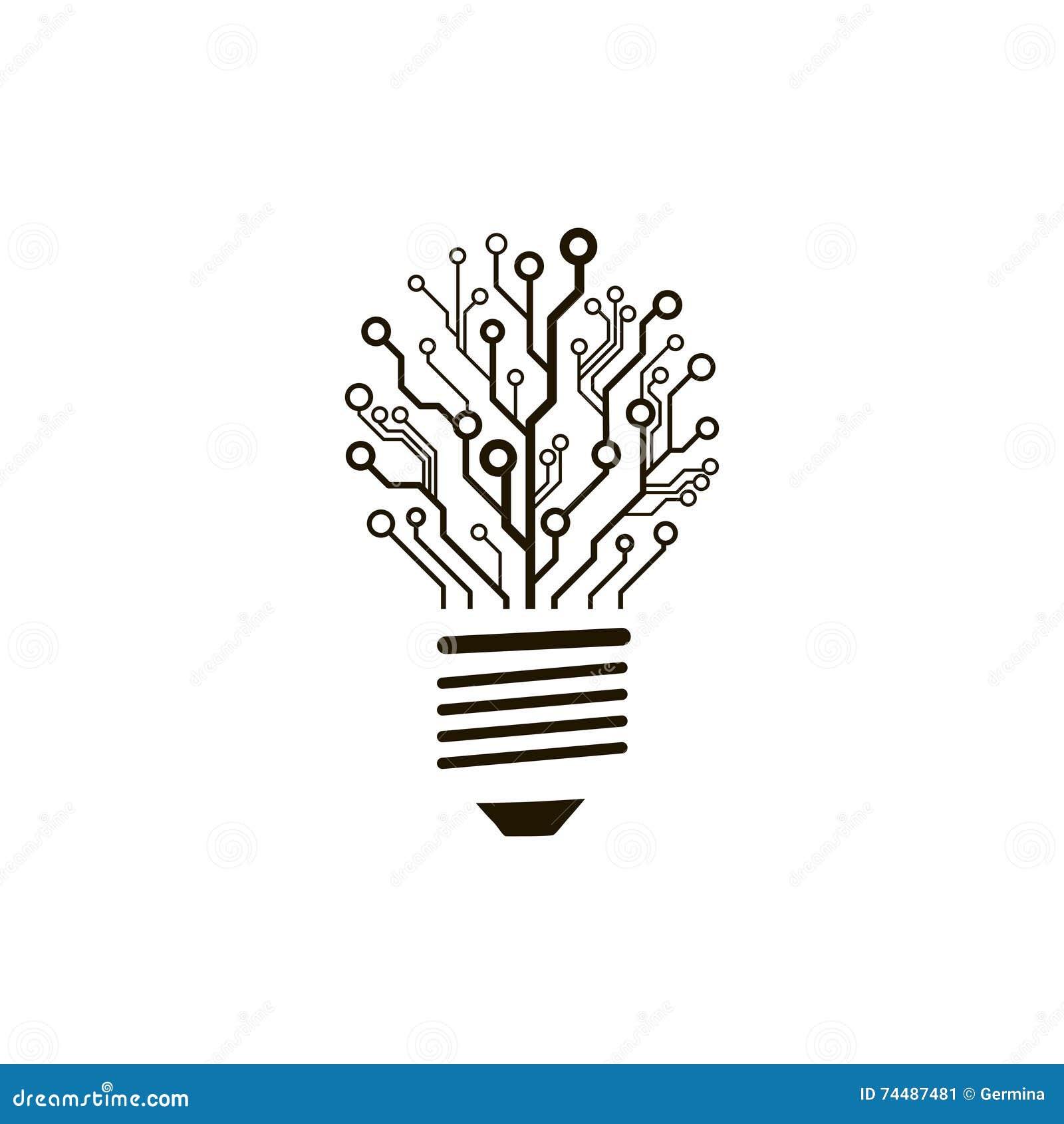 bulbo de la placa de circuito del vector ilustraci u00f3n del