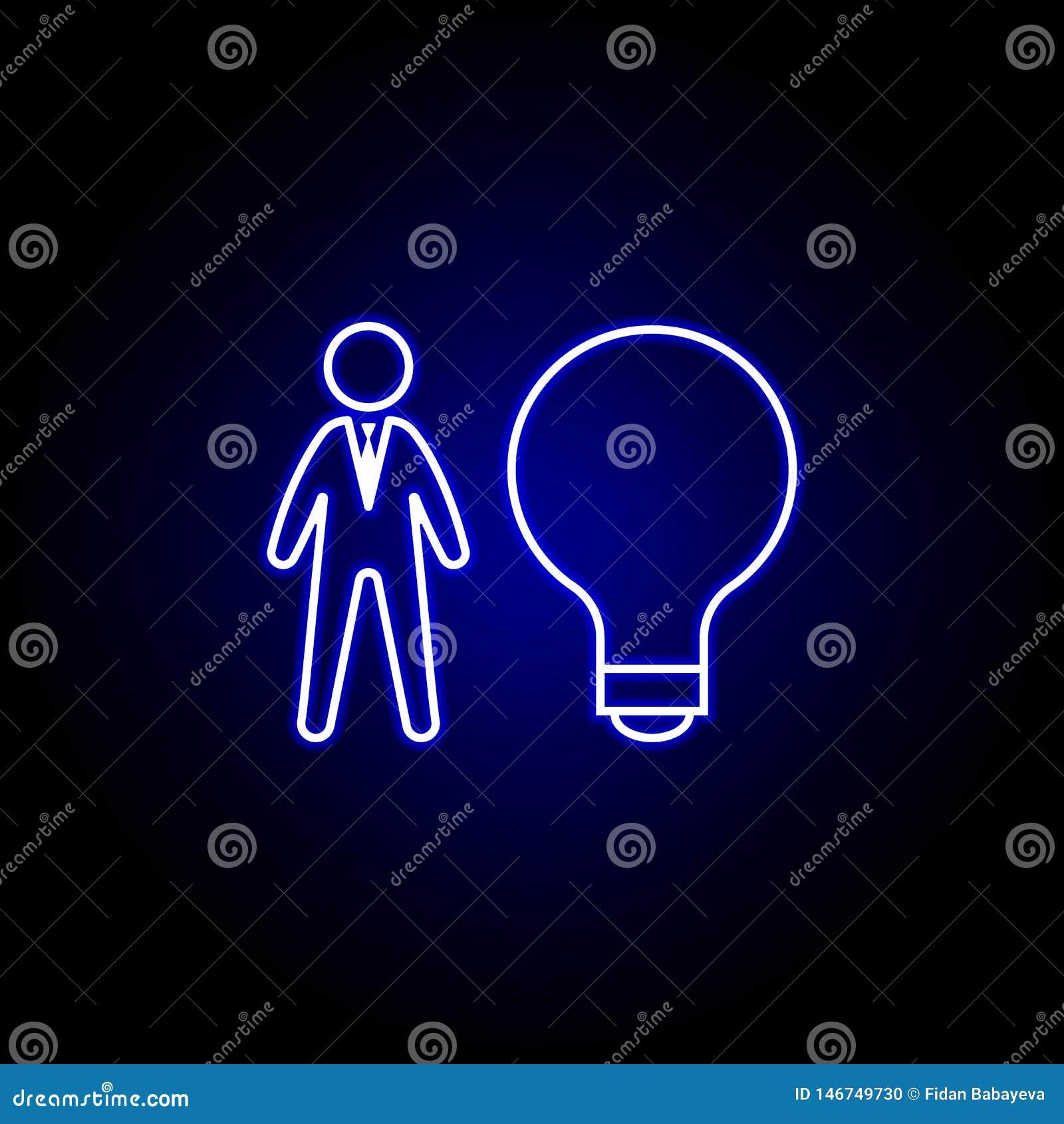 Bulbo, idea, icono del trabajador Elementos del ejemplo de los recursos humanos en el icono de ne?n del estilo Las muestras y los