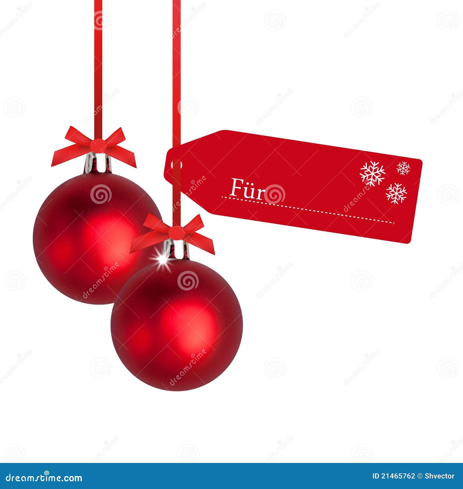 Bulbo rojo de la Navidad con la etiqueta