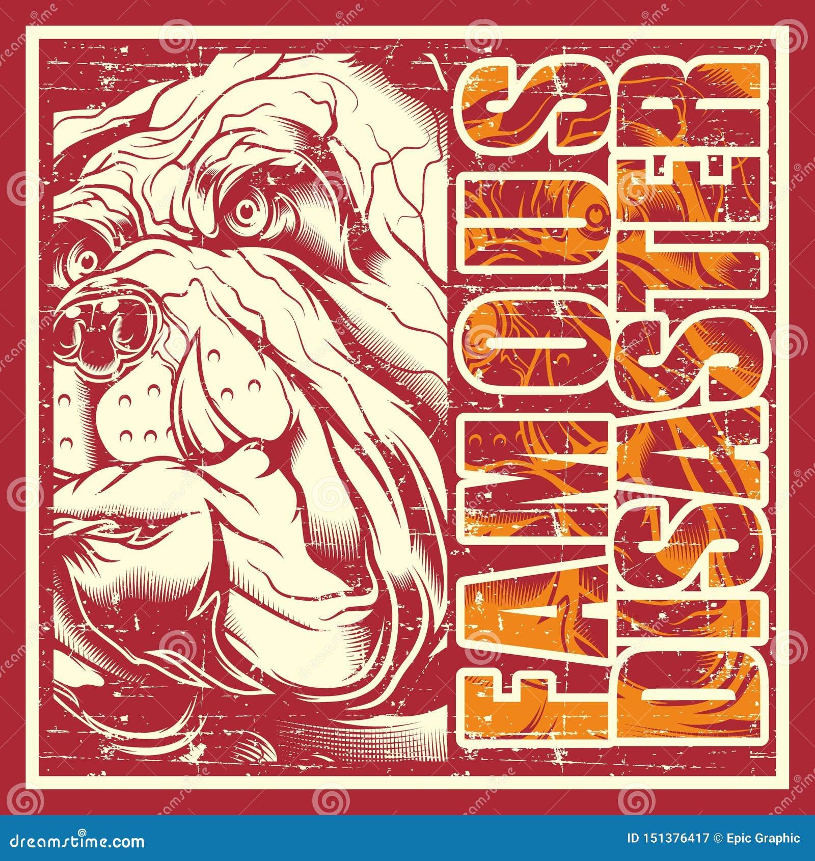 Buldogue do crânio do vintage do estilo do Grunge